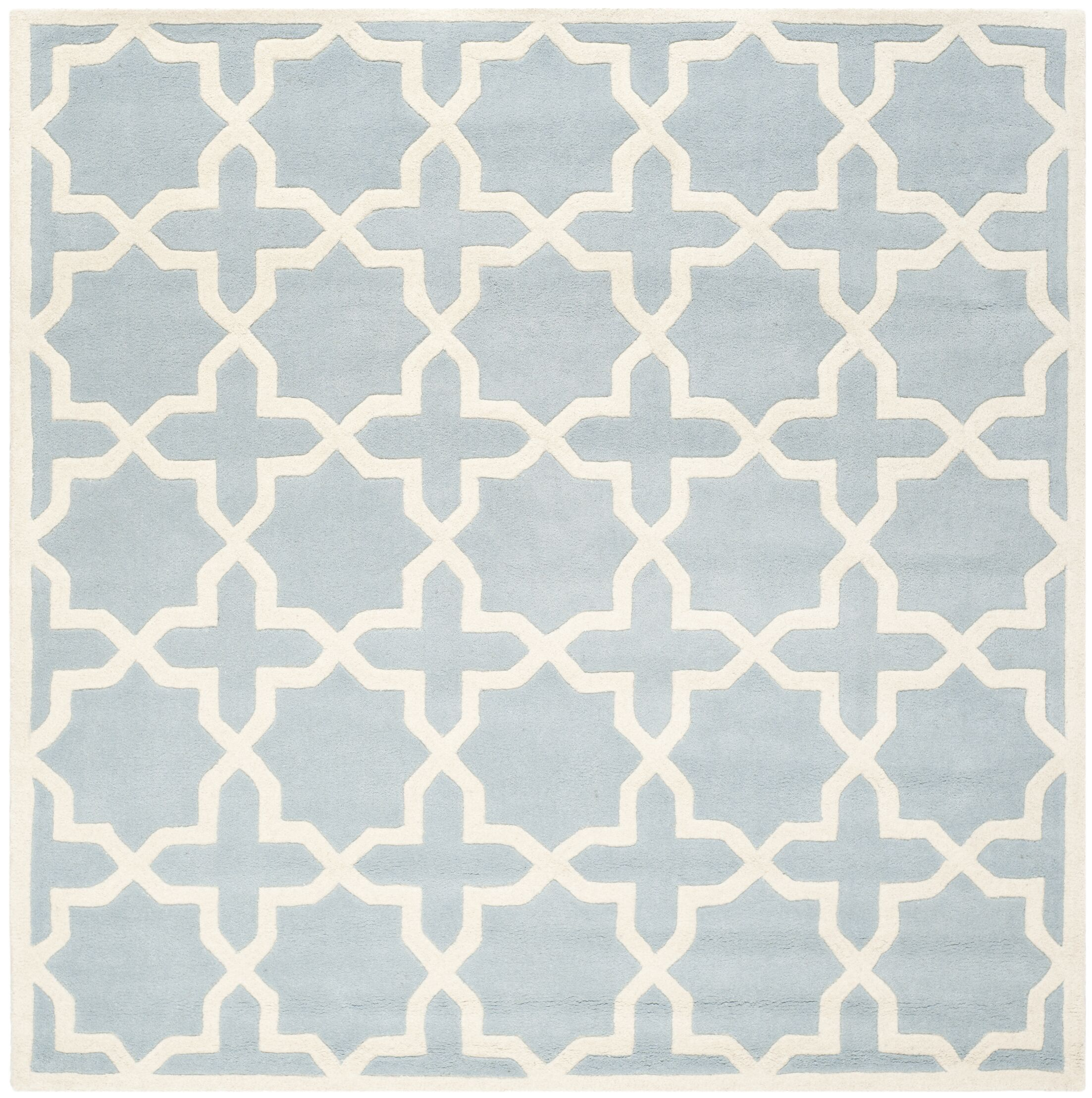 Wilkin Hand-Tufted Blue/Ivory Area Rug Rug Size: Square 5'