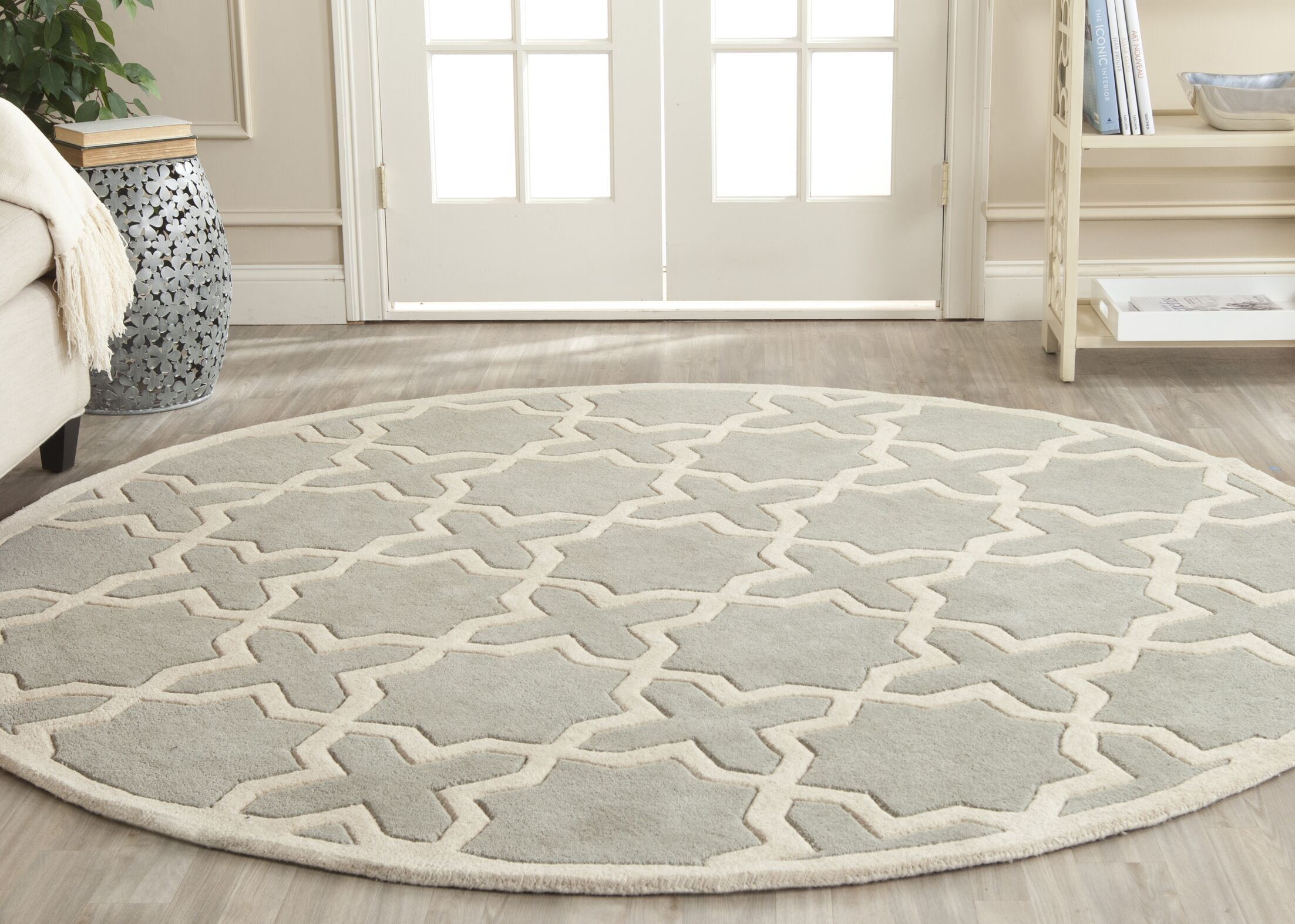 Wilkin Hand-Woven Gray Area Rug Rug Size: Round 5'
