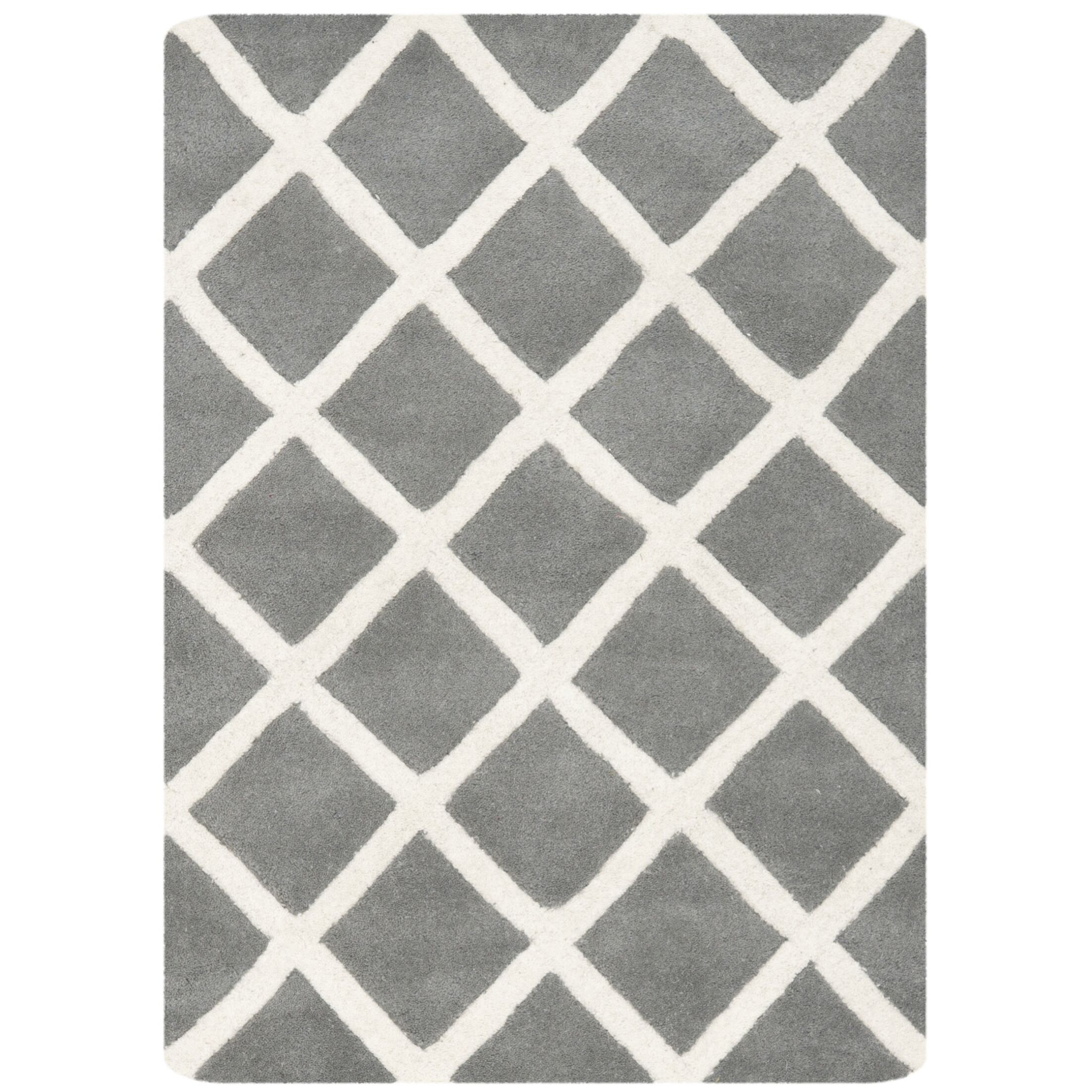 Wilkin Hand-Tufted Dark Gray/Ivory Area Rug Rug Size: Rectangle 8' x 10'