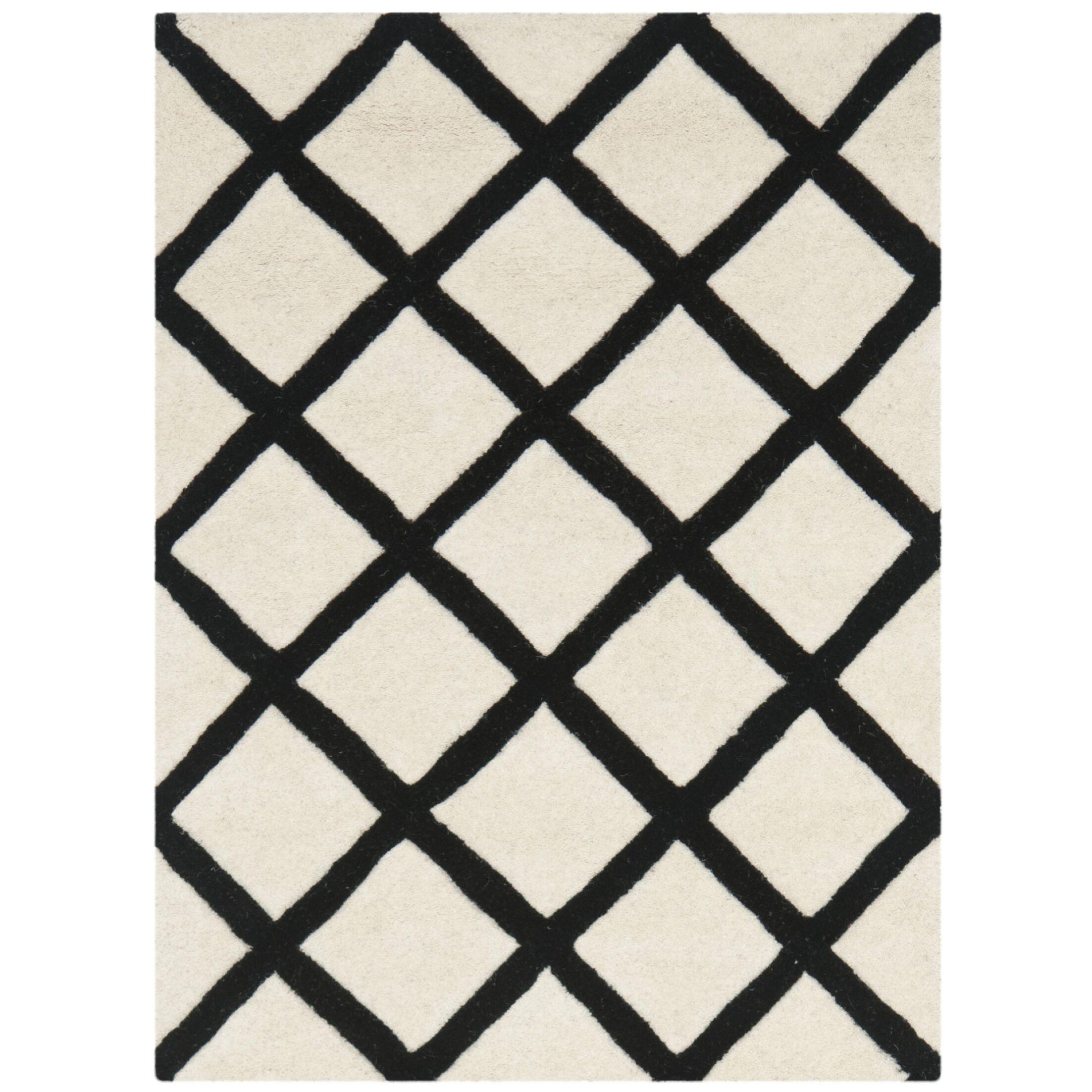 Wilkin Ivory & Black Area Rug Rug Size: Rectangle 6' x 9'