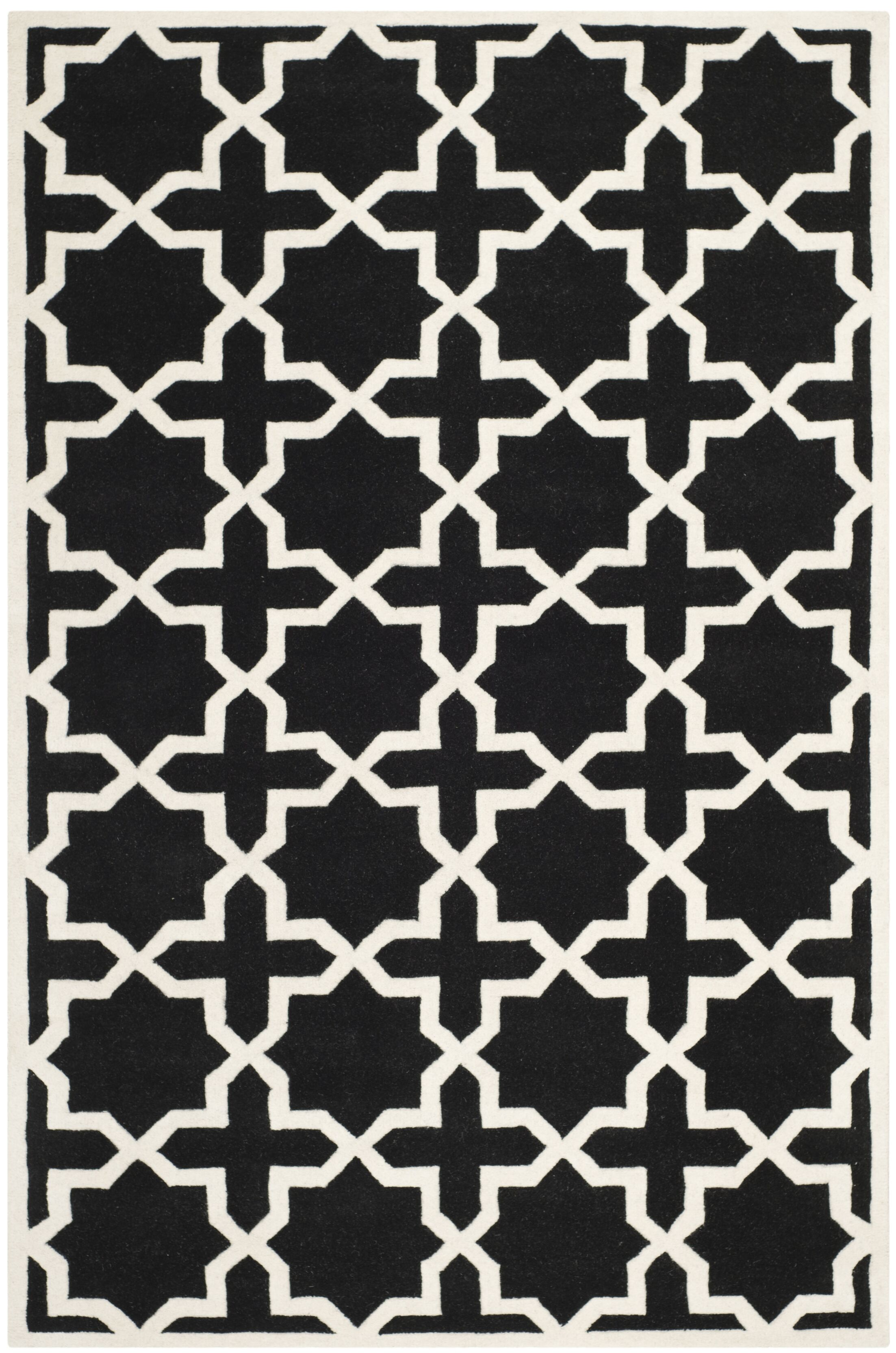 Wilkin Black & Ivory Area Rug Rug Size: Rectangle 8' x 10'