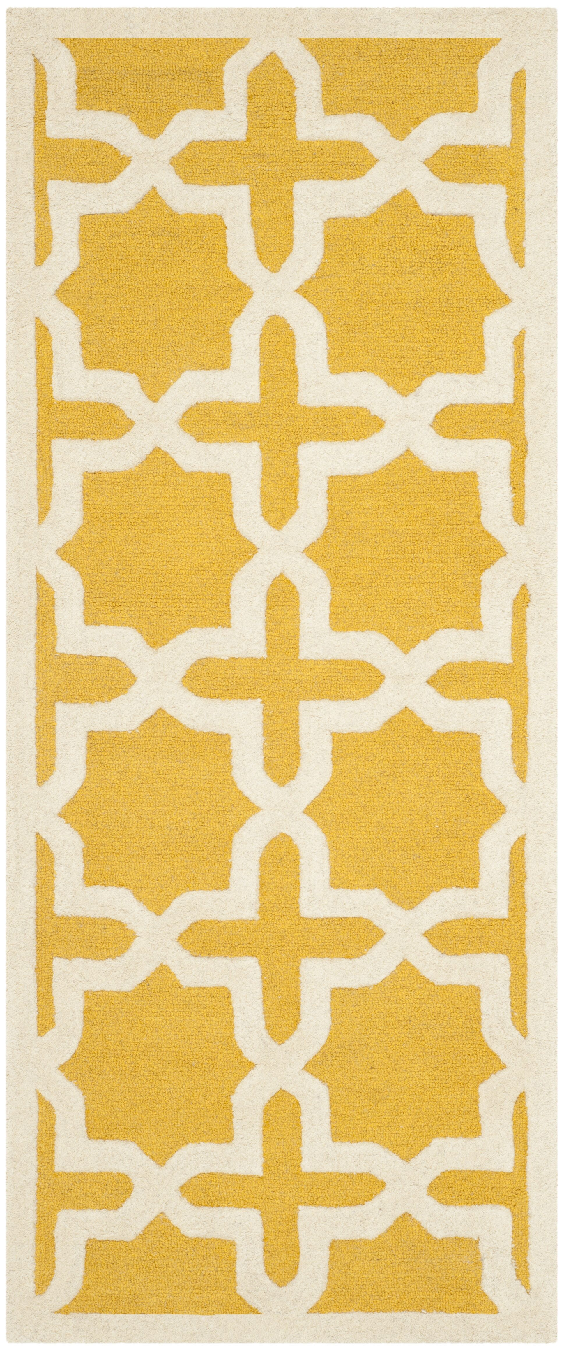 Martins Yellow Area Rug Rug Size: Runner 2'6