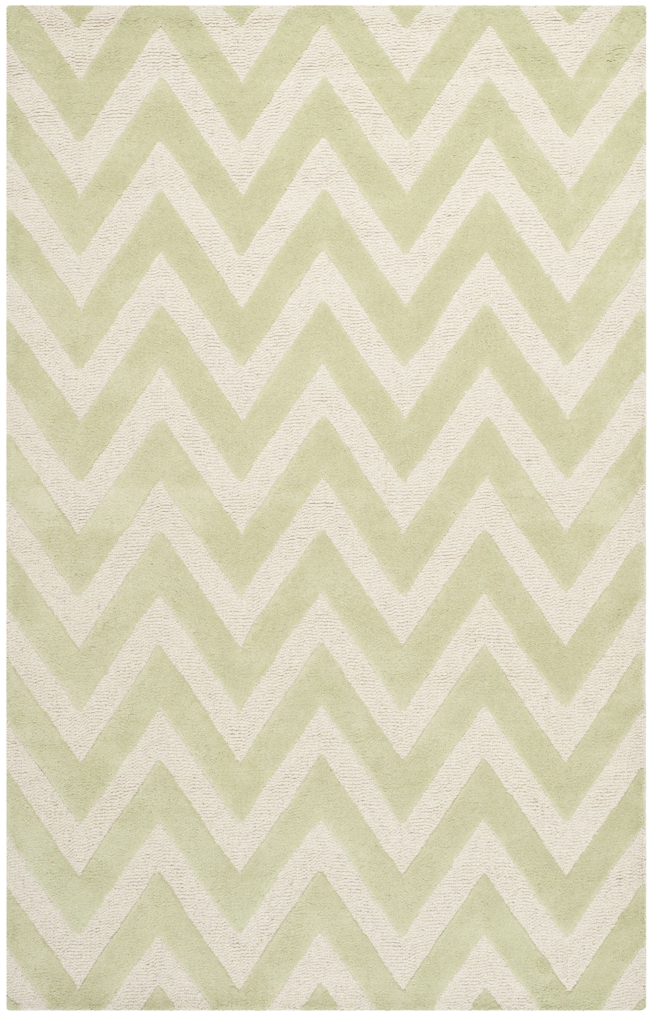 Charlenne Hand-Tufted Light Green/Ivory Area Rug Rug Size: Rectangle 6' x 9'