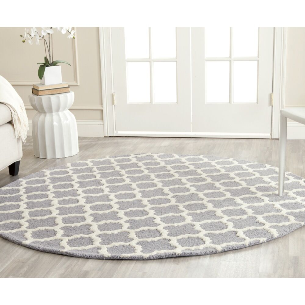 Martins Circle Silver &  Area Rug Rug Size: Round 6'