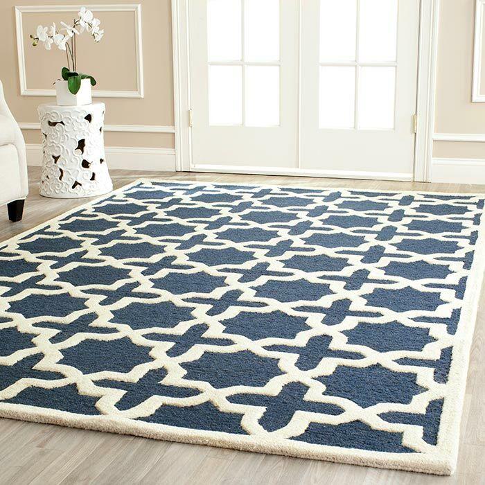 Martins Navy Blue / Ivory Area Rug Rug Size: Rectangle 8' x 8'