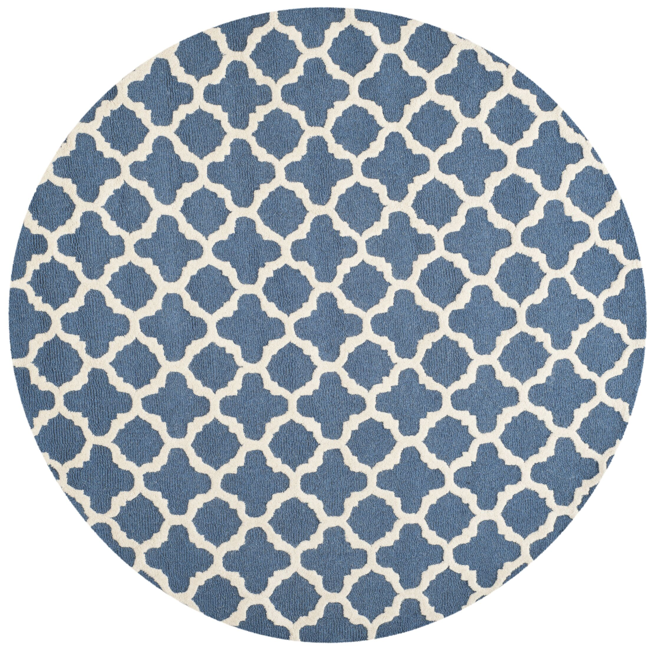 Martins Hand-Tufted Wool Blue Area Rug Rug Size: Round 6'