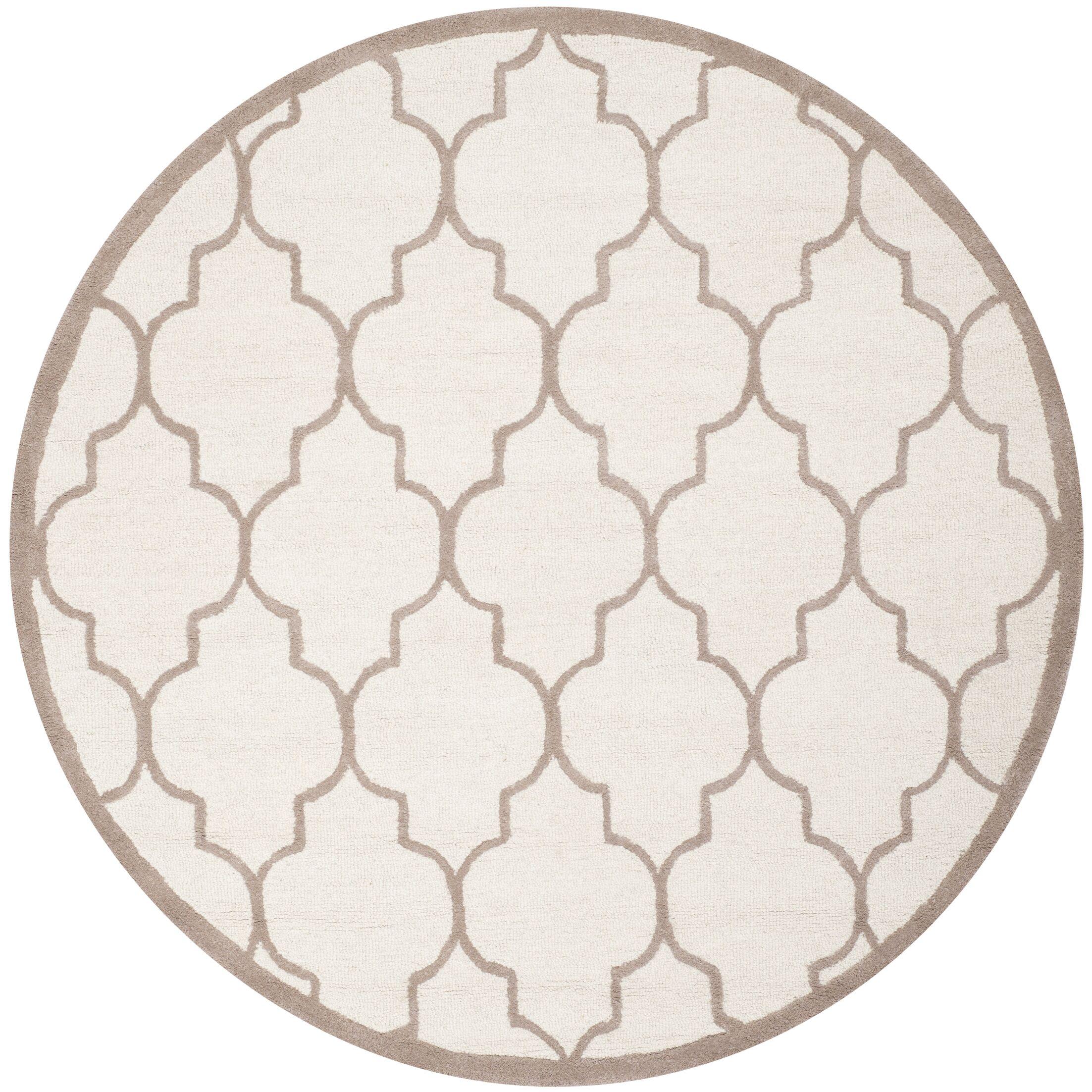 Charlenne Hand-Tufted Ivory/Beige Area Rug Rug Size: Round 6'