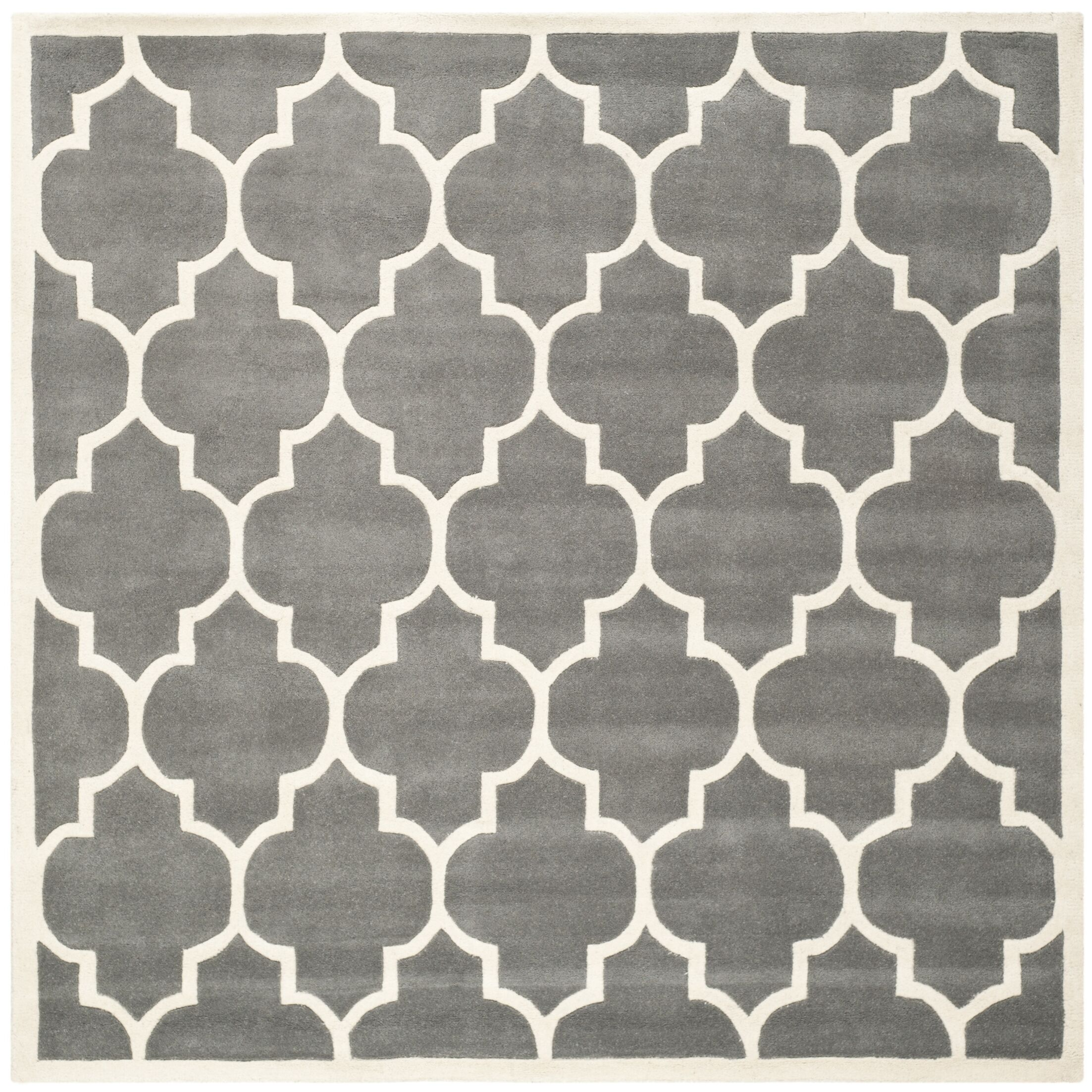 Wilkin Hand-Tufted Wool Dark Gray Area Rug Rug Size: Square 7'