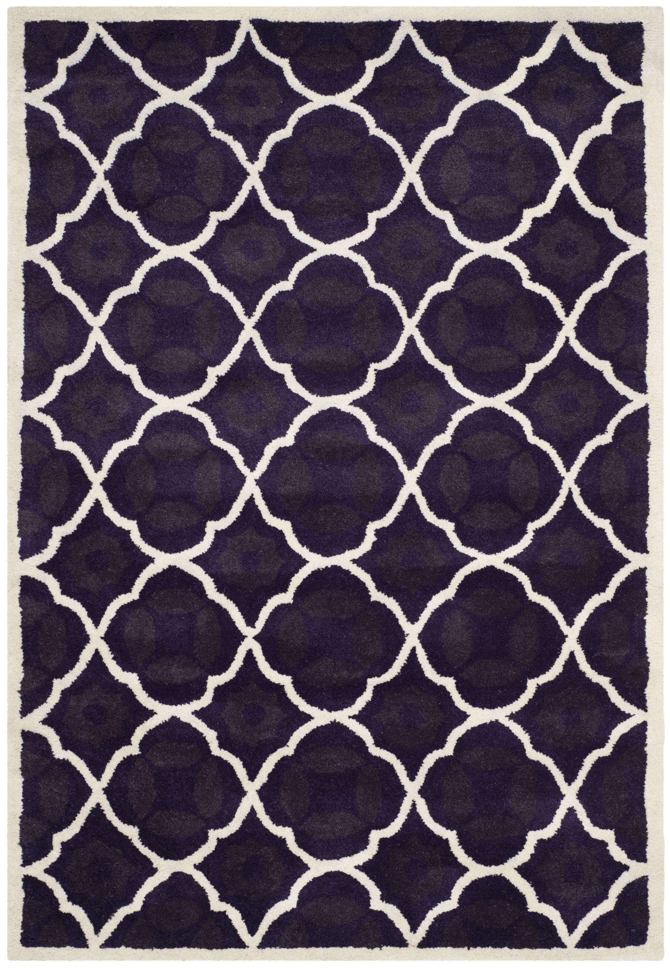 Wilkin Purple/Ivory Moroccan Area Rug Rug Size: Rectangle 4' x 6'