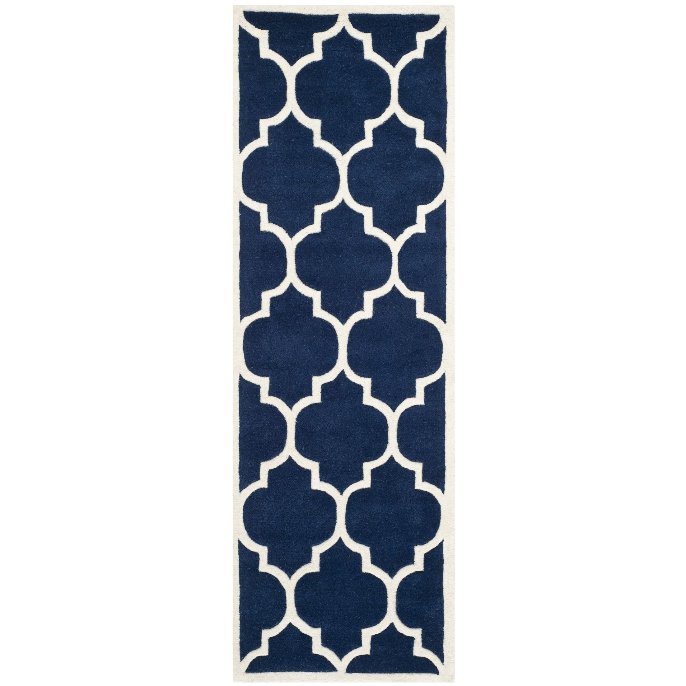 Wilkin Hand-Tufted Dark Blue/Ivory Area Rug Rug Size: Runner 2'3