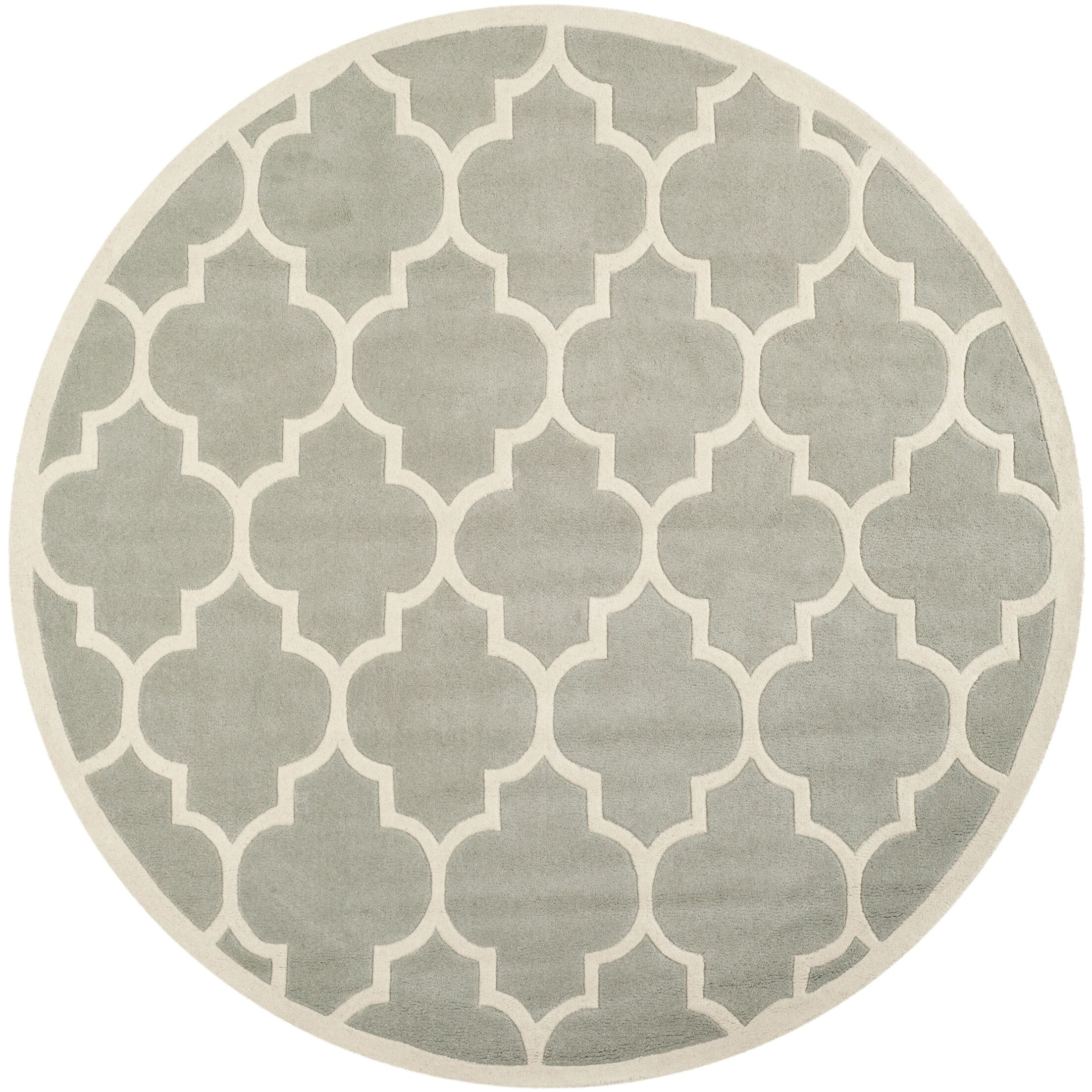 Wilkin Hand-Tufted Gray/Ivory Area Rug Rug Size: Round 4'
