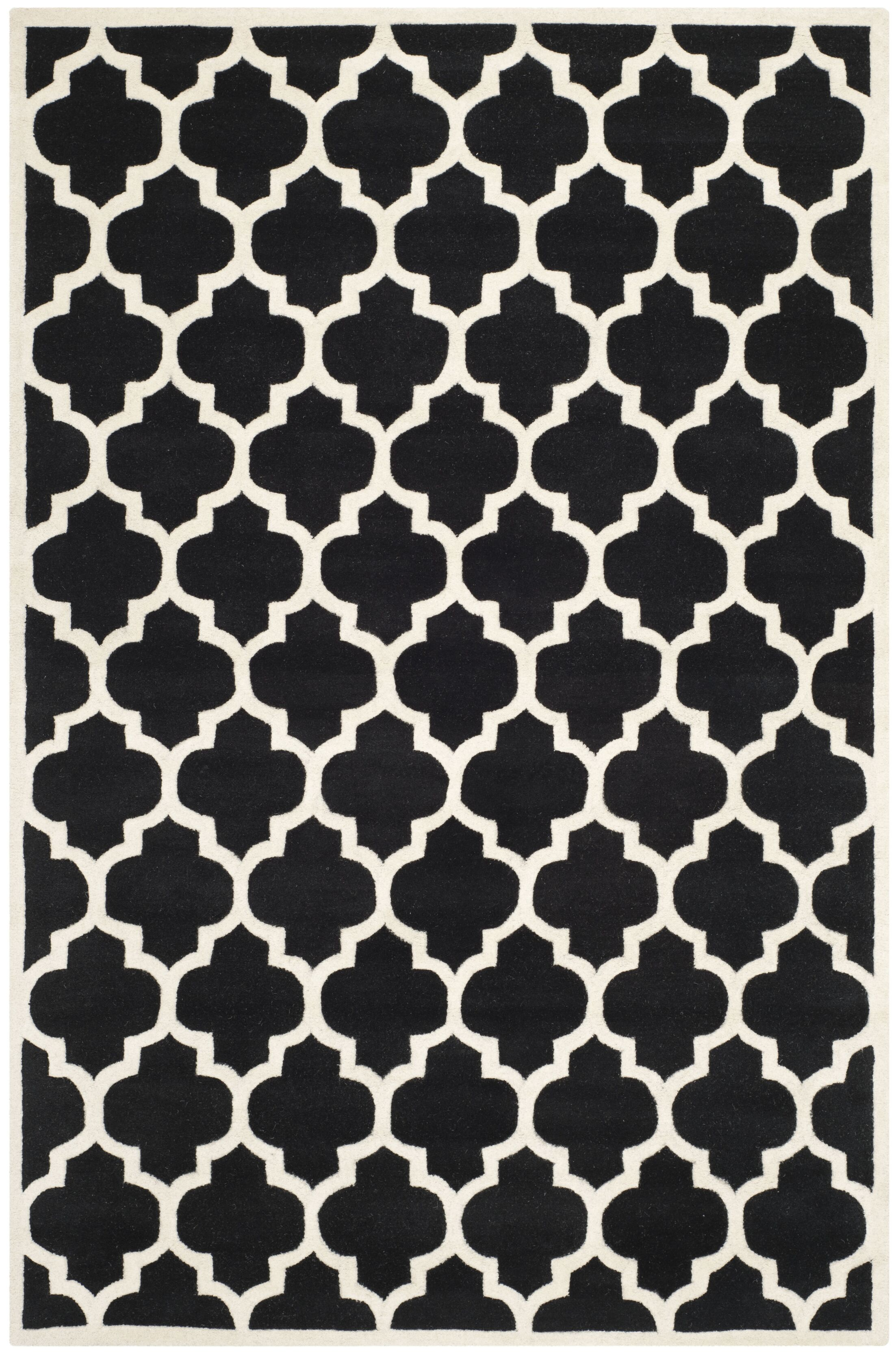 Wilkin Hand-Tufted Black/Ivory Area Rug Rug Size: Rectangle 8'9