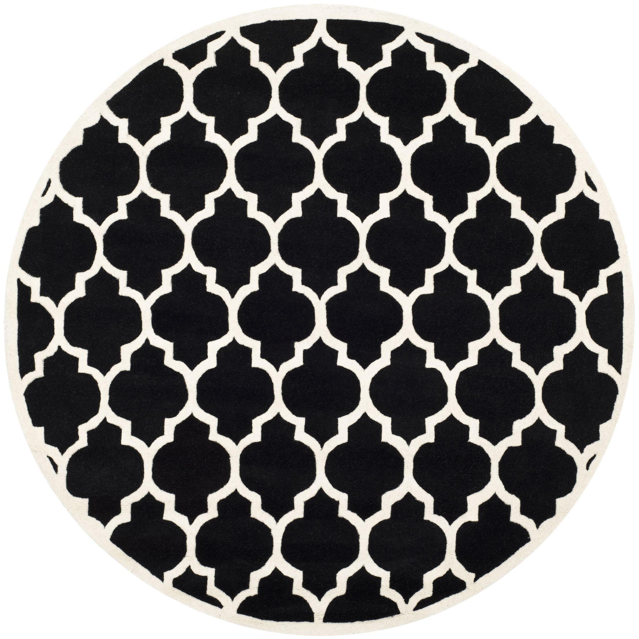 Wilkin Hand-Tufted Black/Ivory Area Rug Rug Size: Round 7'