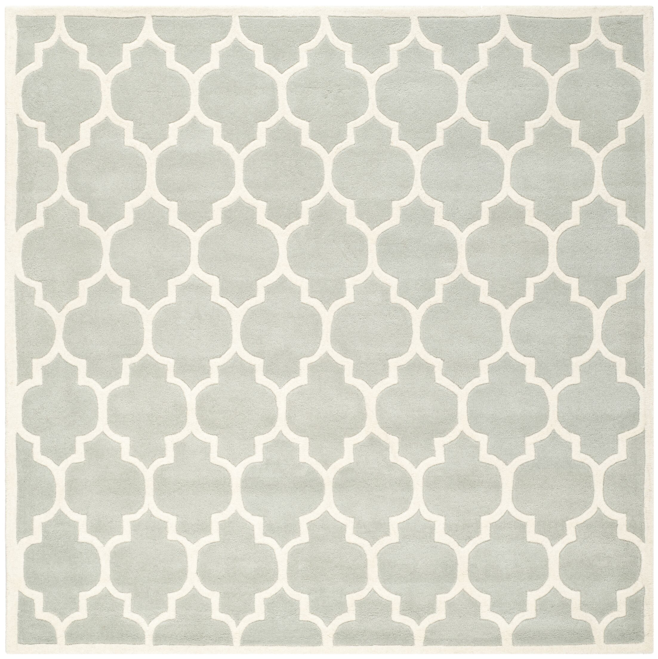 Wilkin Hand-Tufted Wool Gray/Ivory Area Rug Rug Size: Square 8'9