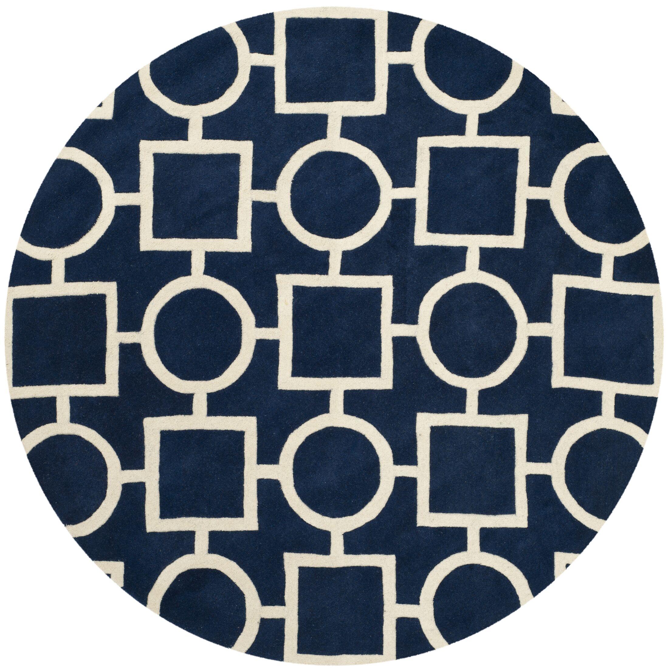 Wilkin Hand-Tufted Wool Blue/Ivory Rug Rug Size: Round 7'
