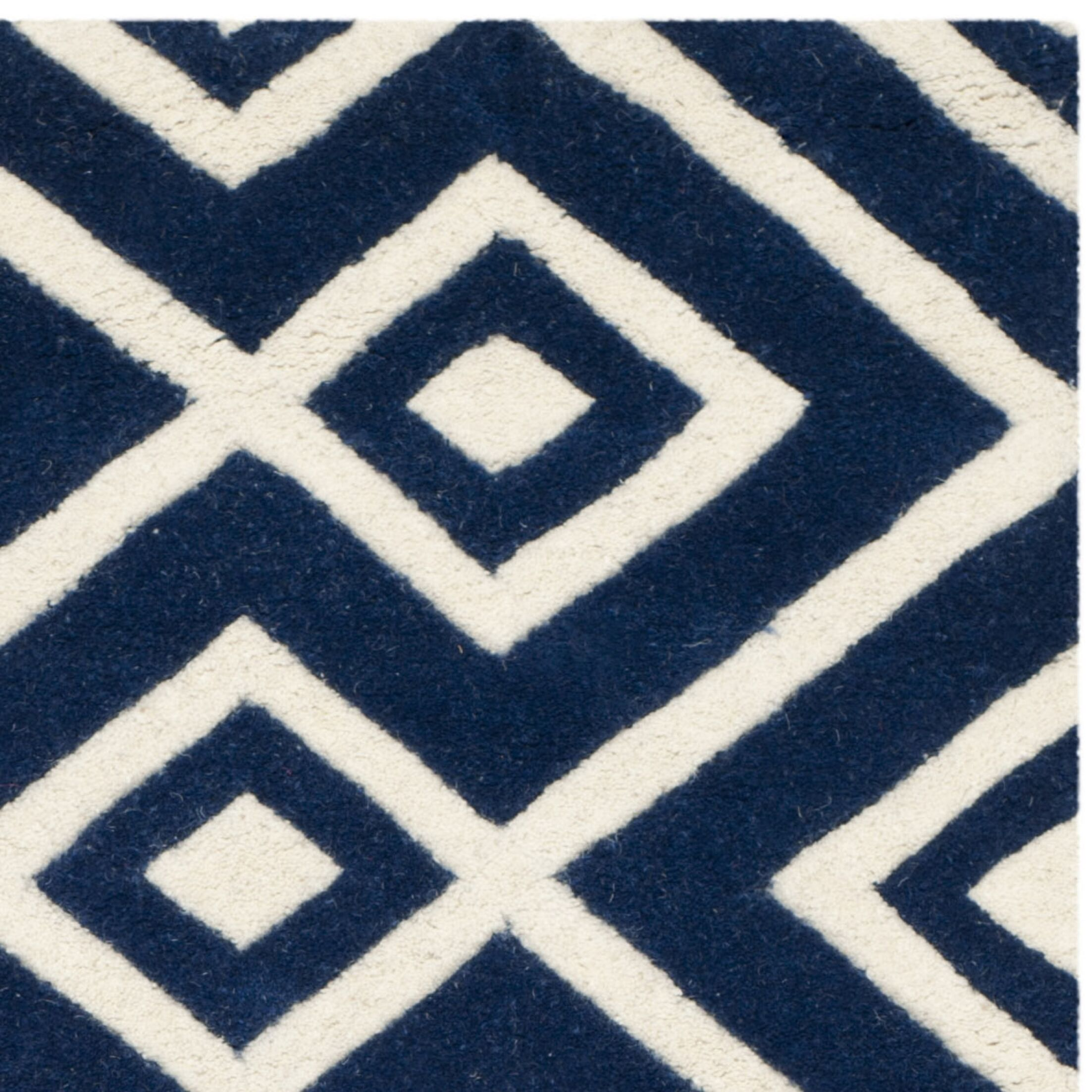 Wilkin Hand-Tufted Wool Dark Blue/Ivory Rug Rug Size: Rectangle 3' x 5'