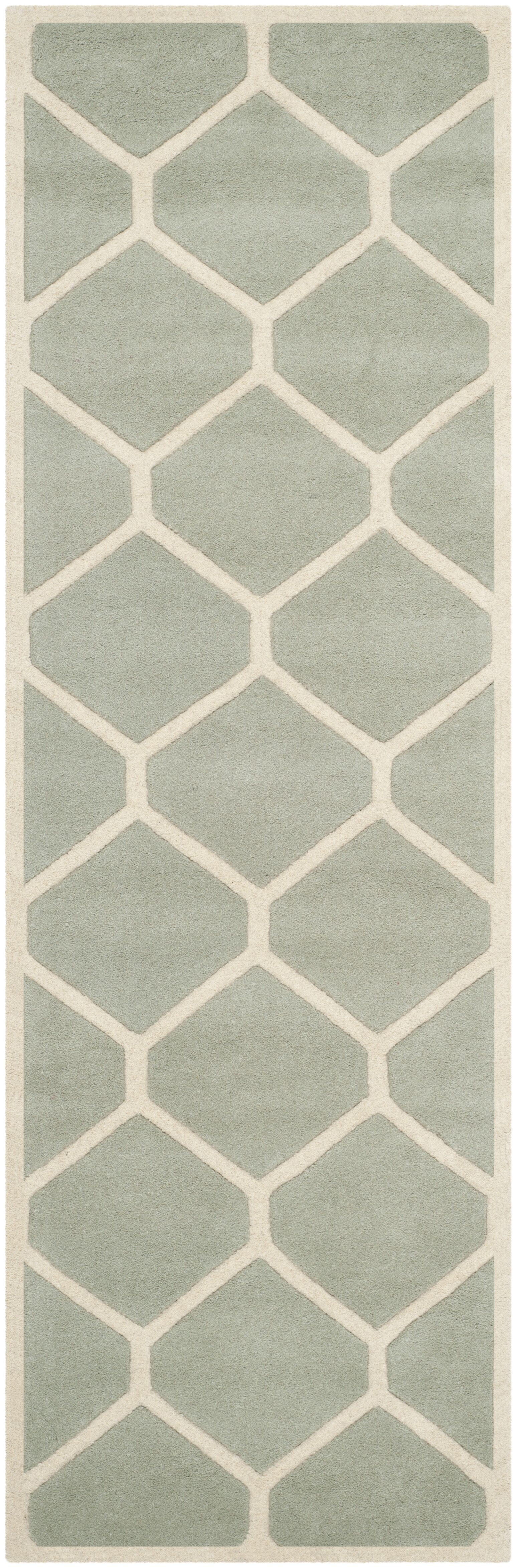 Wilkin Hand-Tufted Wool Gray/Ivory Area Rug Rug Size: Runner 2'3