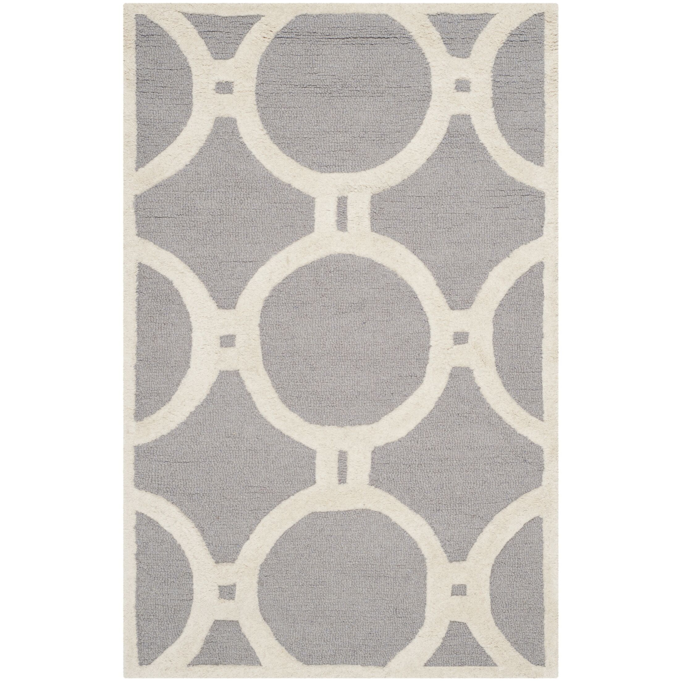 Martins Hand-Tufted Wool Silver/Ivory Area Rug Rug Size: Rectangle 9' x 12'