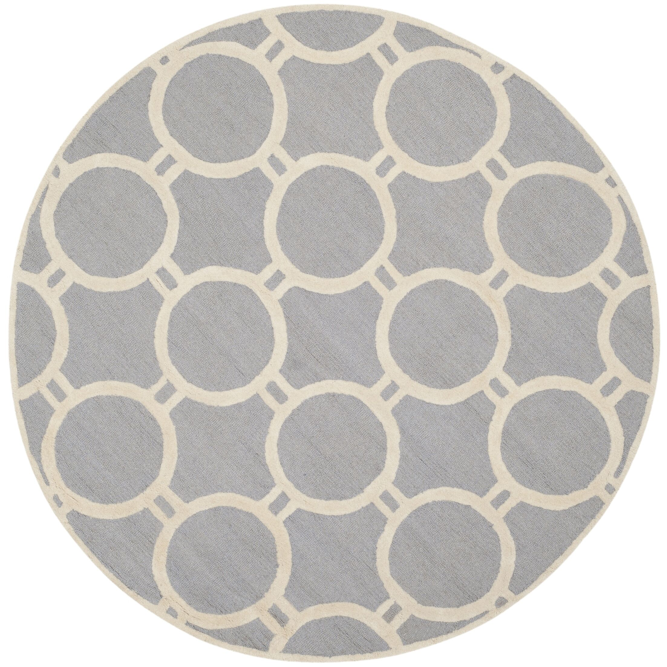 Martins Hand-Tufted Wool Silver/Ivory Area Rug Rug Size: Round 6'