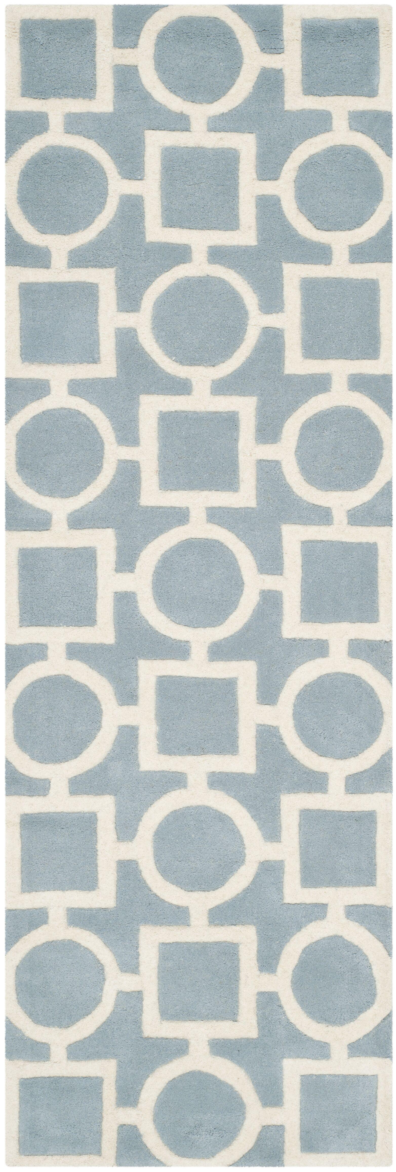 Wilkin Hand-Tufted Wool Blue/Ivory Rug Rug Size: Runner 2'3