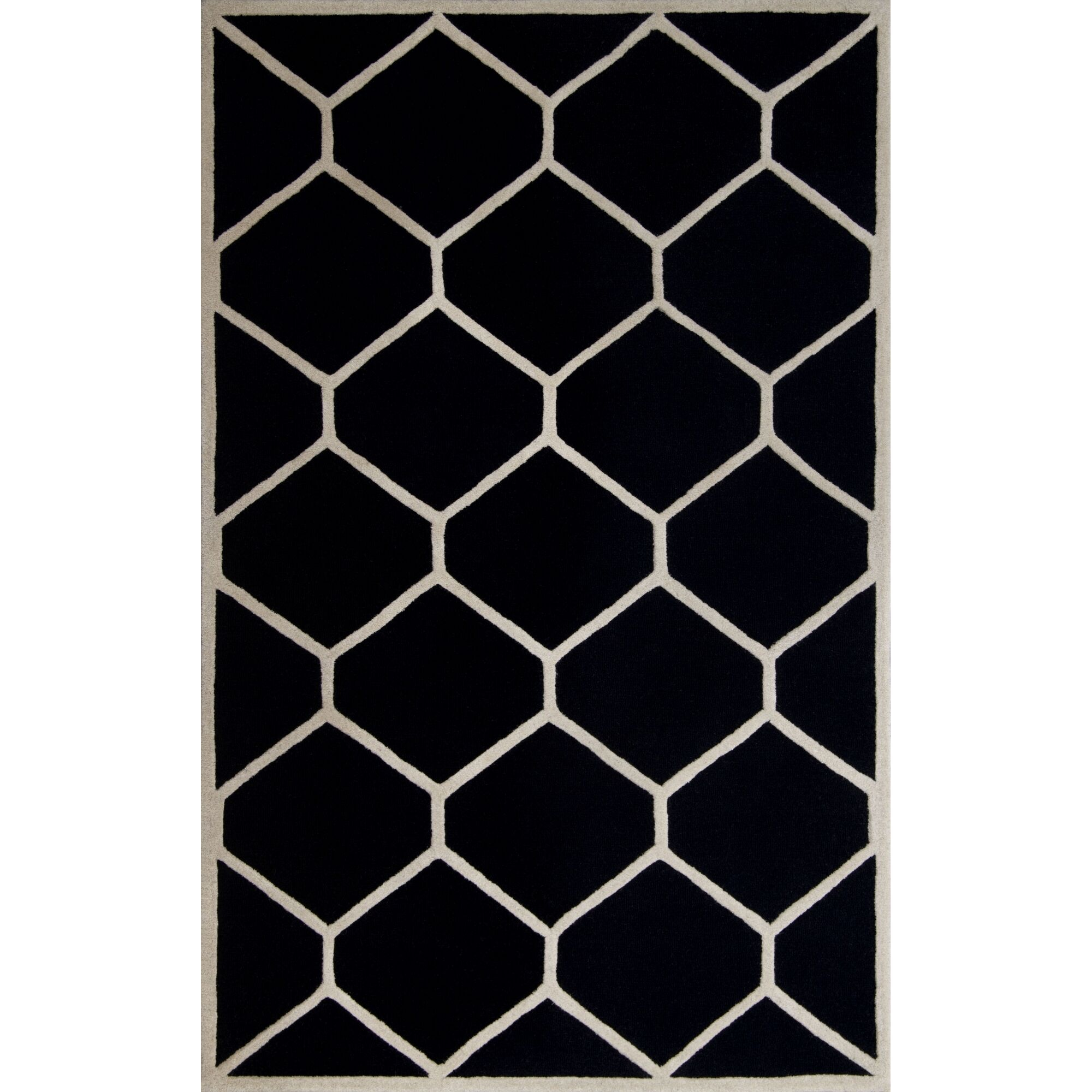 Martins Hand-Tufted Wool Black/Ivory Area Rug Rug Size: Rectangle 6' x 9'