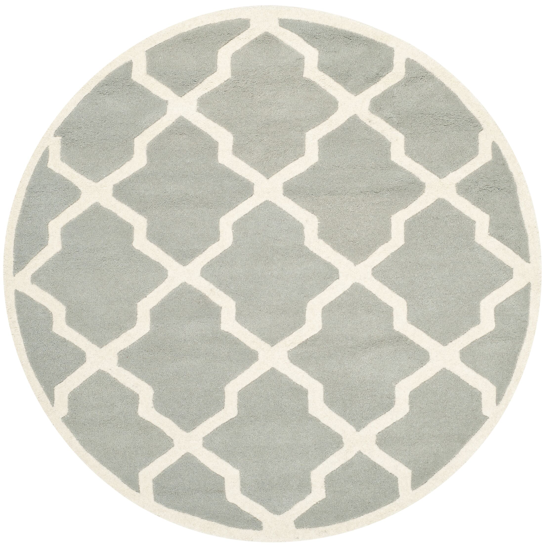 Wilkin Hand-Tufted Wool Gray/Ivory Area Rug Rug Size: Round 5'