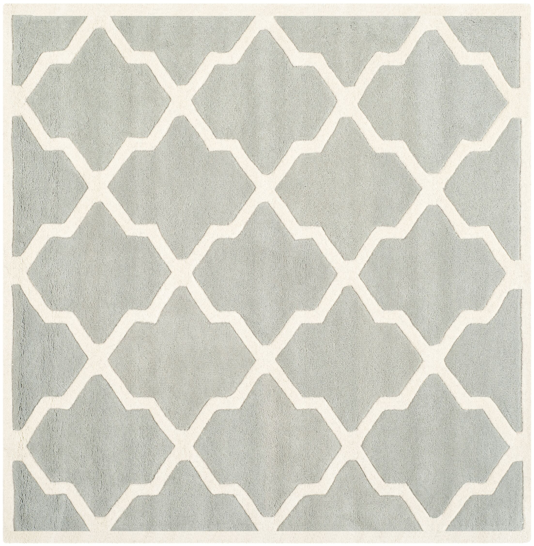 Wilkin Hand-Tufted Wool Gray/Ivory Area Rug Rug Size: Square 5'