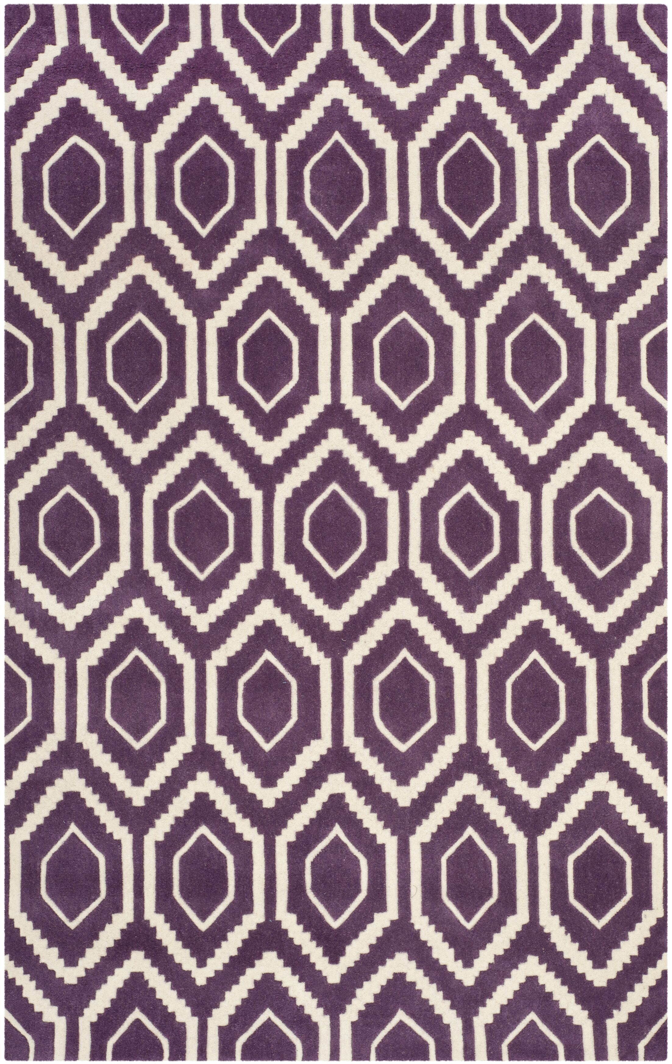 Wilkin Hand-Tufted Wool Purple/Ivory Area Rug Rug Size: Rectangle 5' x 8'