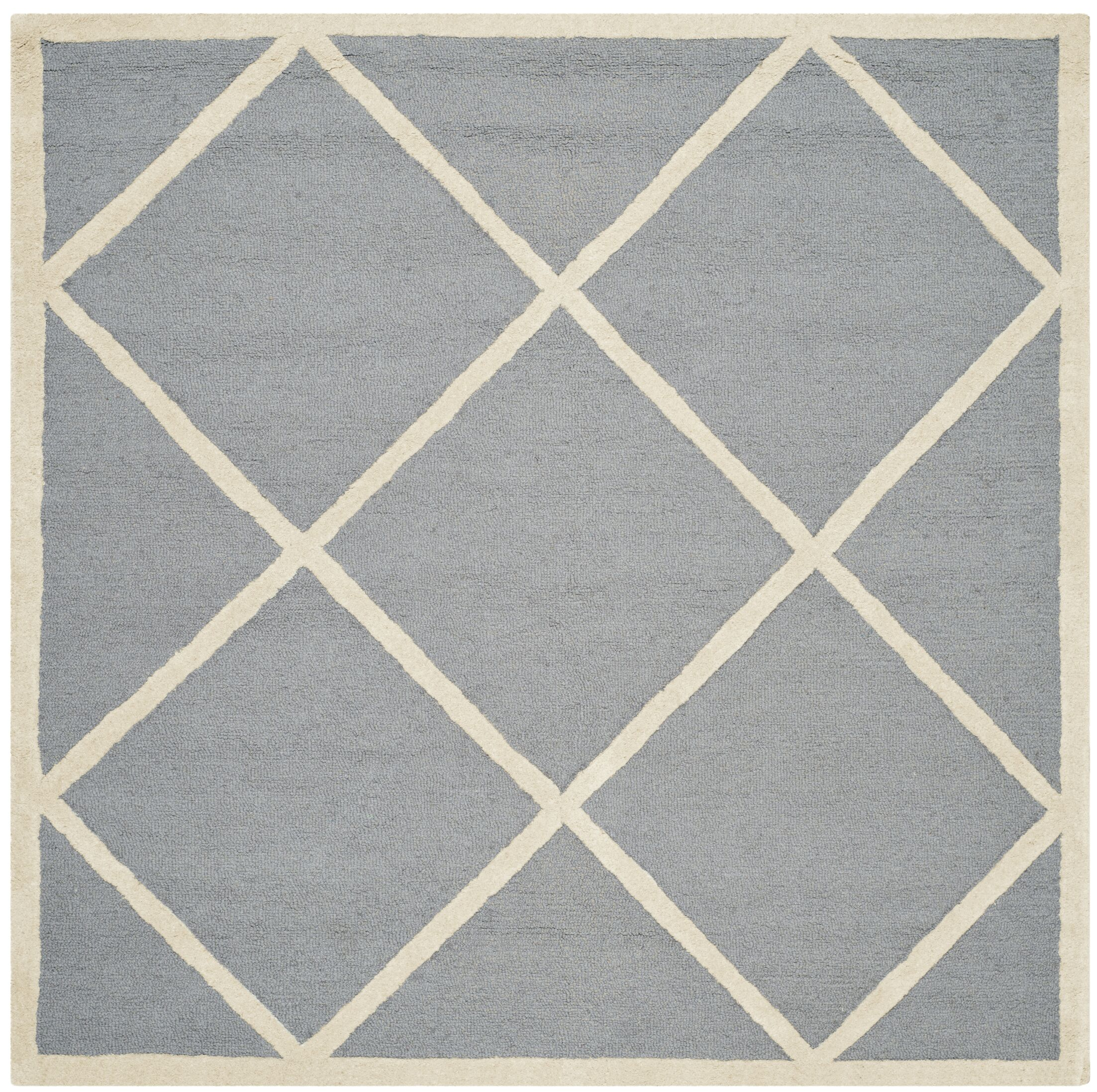 Martins Hand-Tufted Wool Gray/Ivory Area Rug Rug Size: Square 8'