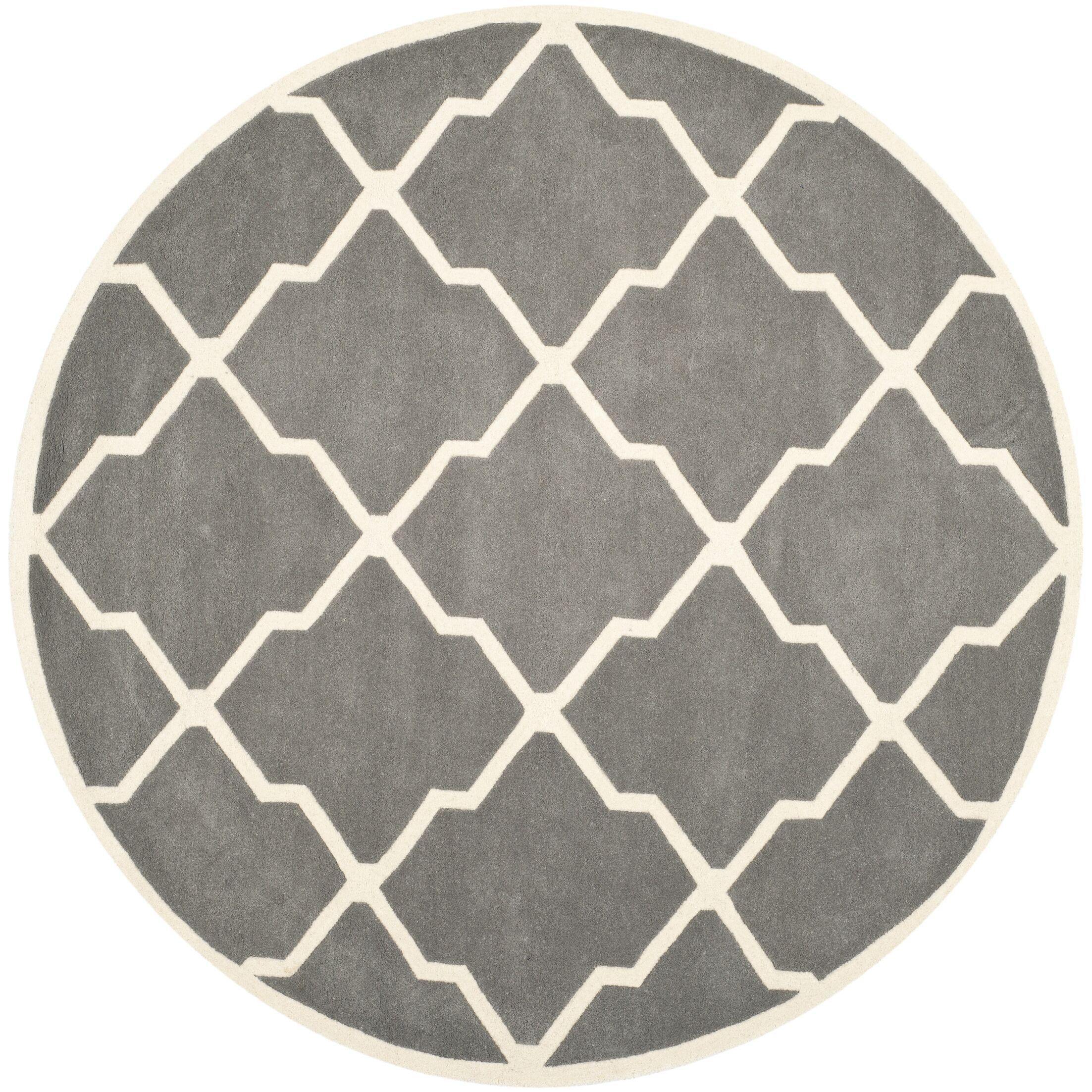 Wilkin Hand-Tufted Dark Gray/Ivory Area Rug Rug Size: Round 7'