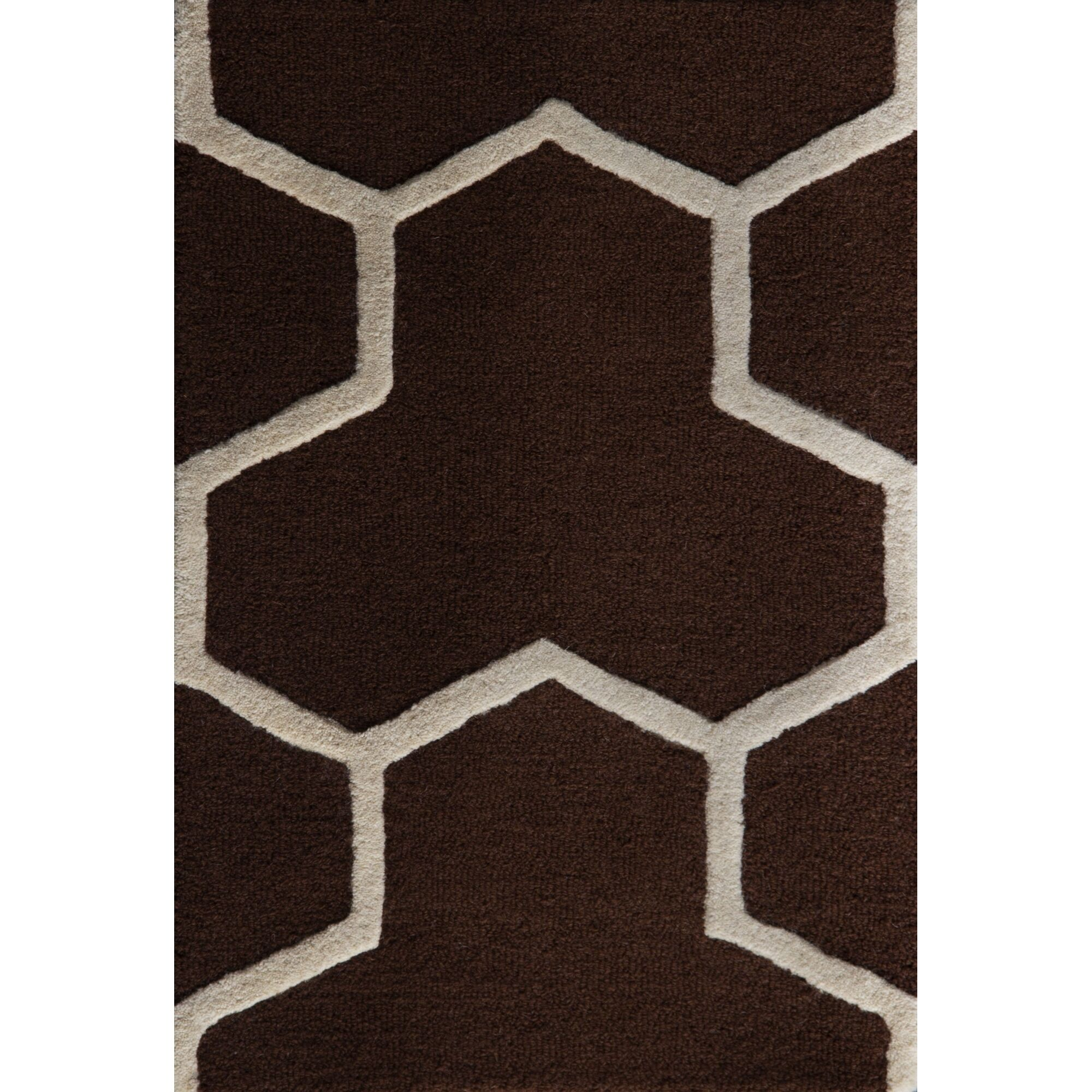 Martins Hand-Tufted Wool Brown/Ivory Area Rug Rug Size: Rectangle 9' x 12'