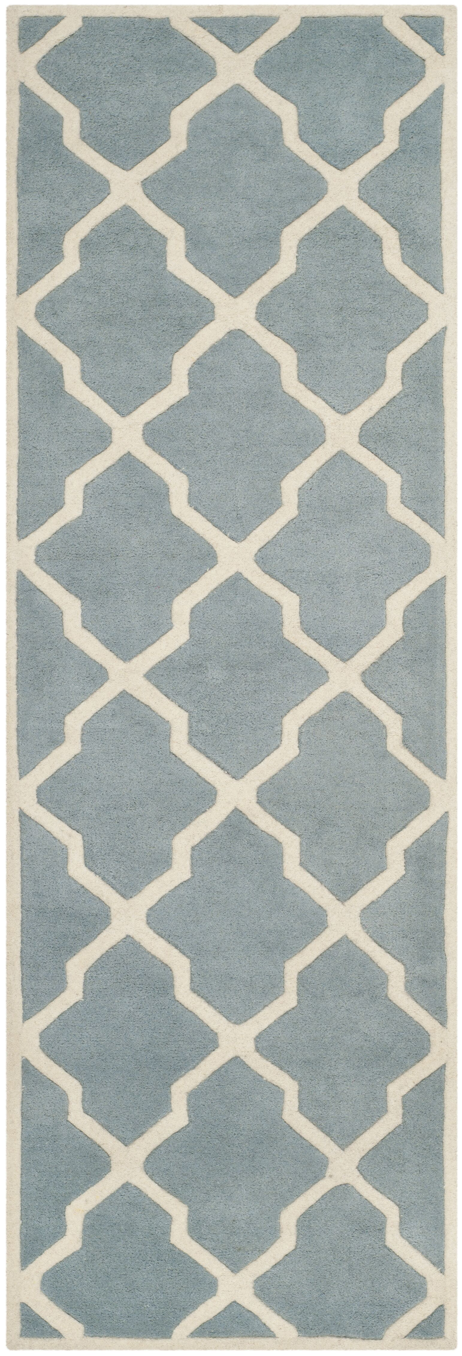 Wilkin Hand-Tufted Wool Blue/Ivory Area Rug Rug Size: Runner 2'3