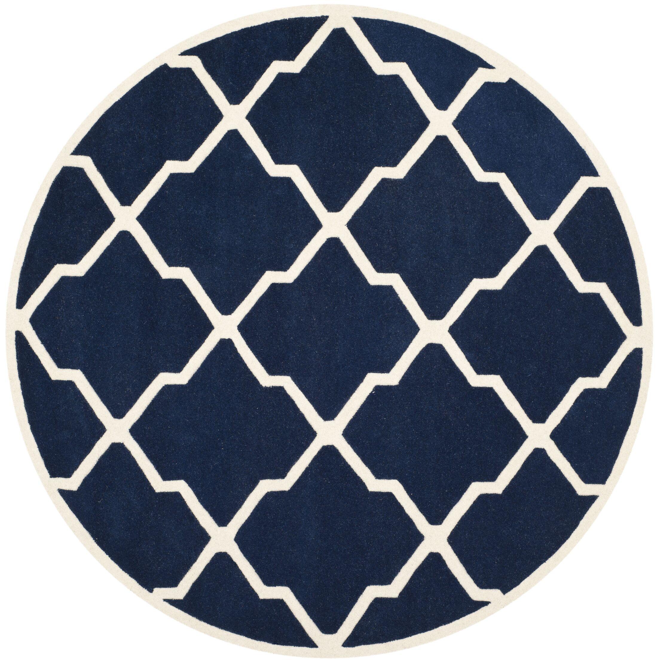 Wilkin Hand-Tufted Wool Dark Blue/Ivory Area Rug Rug Size: Round 7'