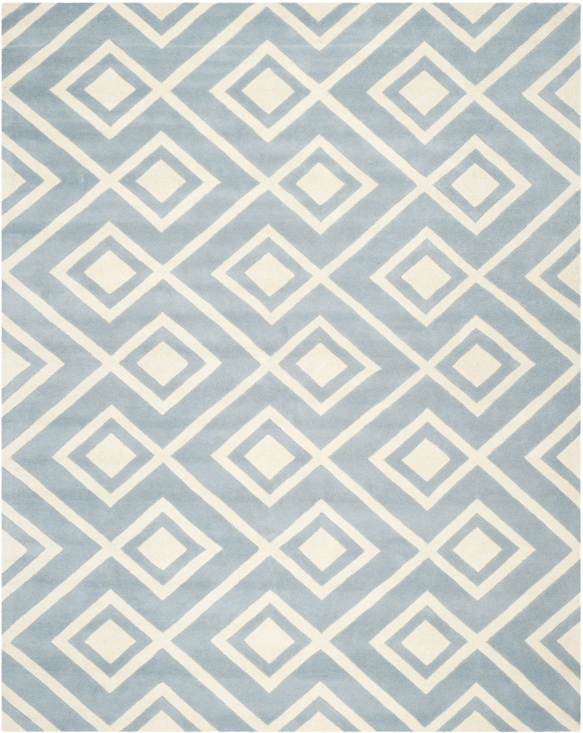 Wilkin Hand-Tufted Wool Blue/Ivory Area Rug Rug Size: Rectangle 8' x 10'