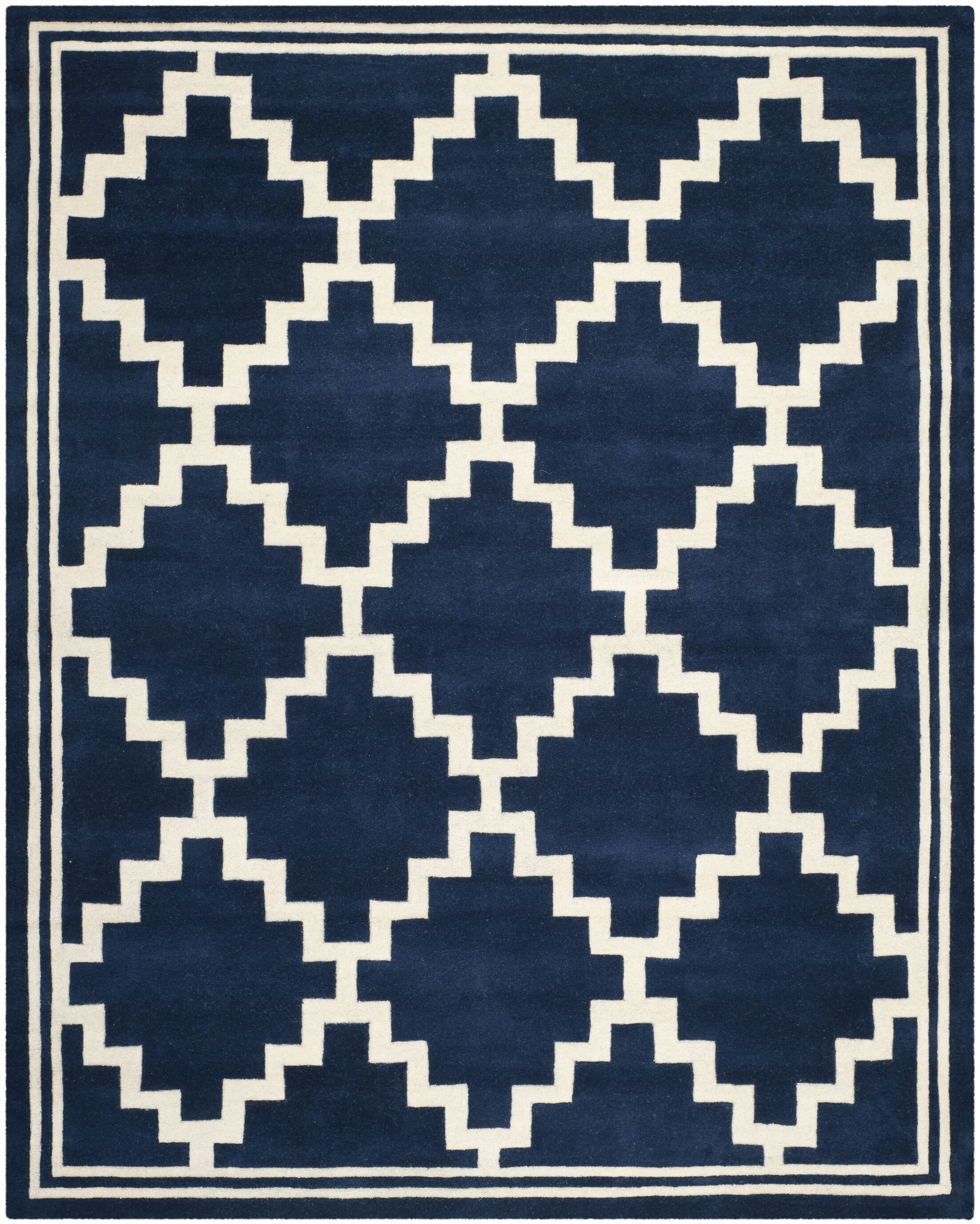 Wilkin Wool Navy/Ivory Area Rug Rug Size: Rectangle 8' x 10'