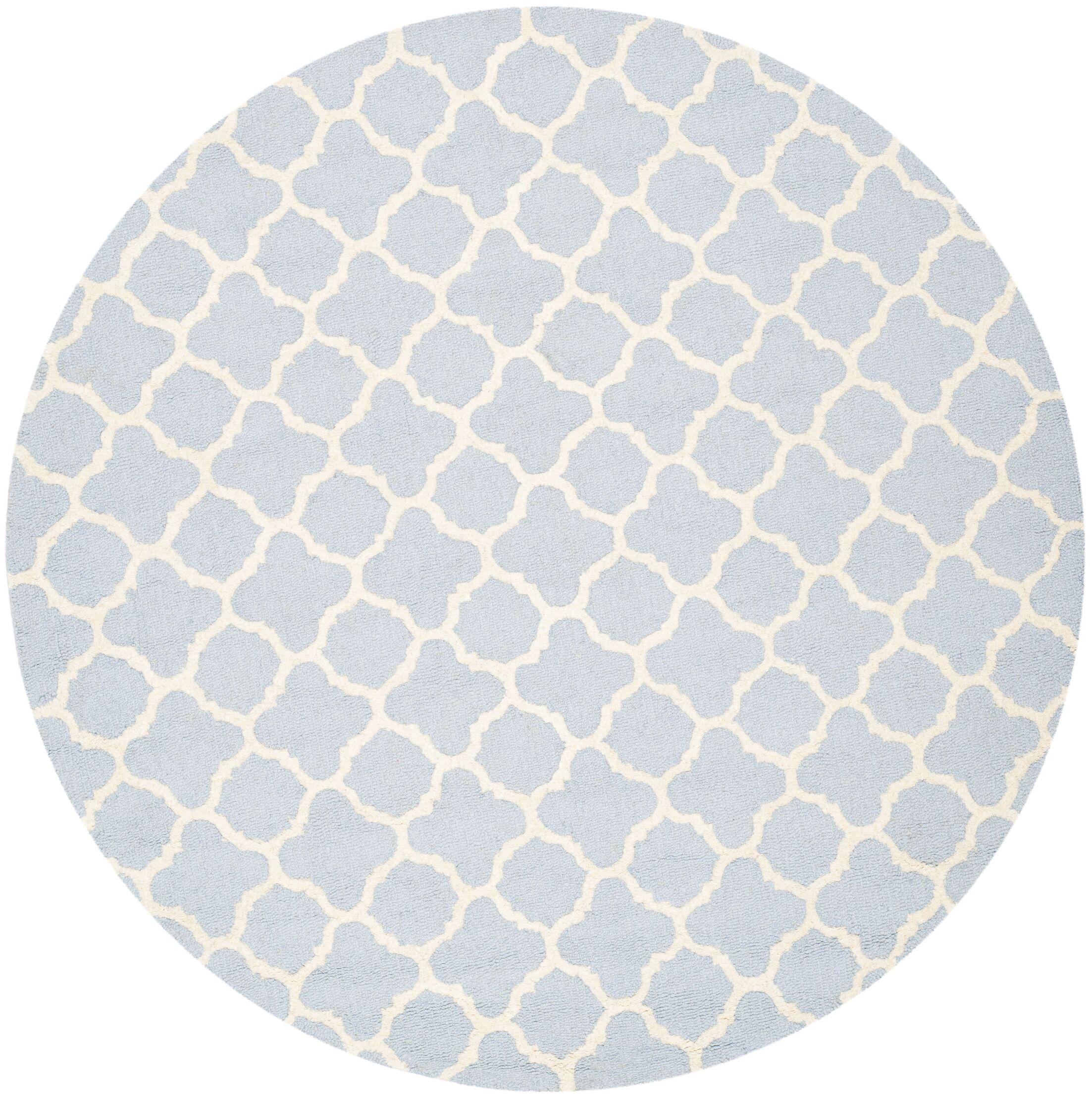 Martins Light Blue / Ivory Area Rug Rug Size: Round 4'