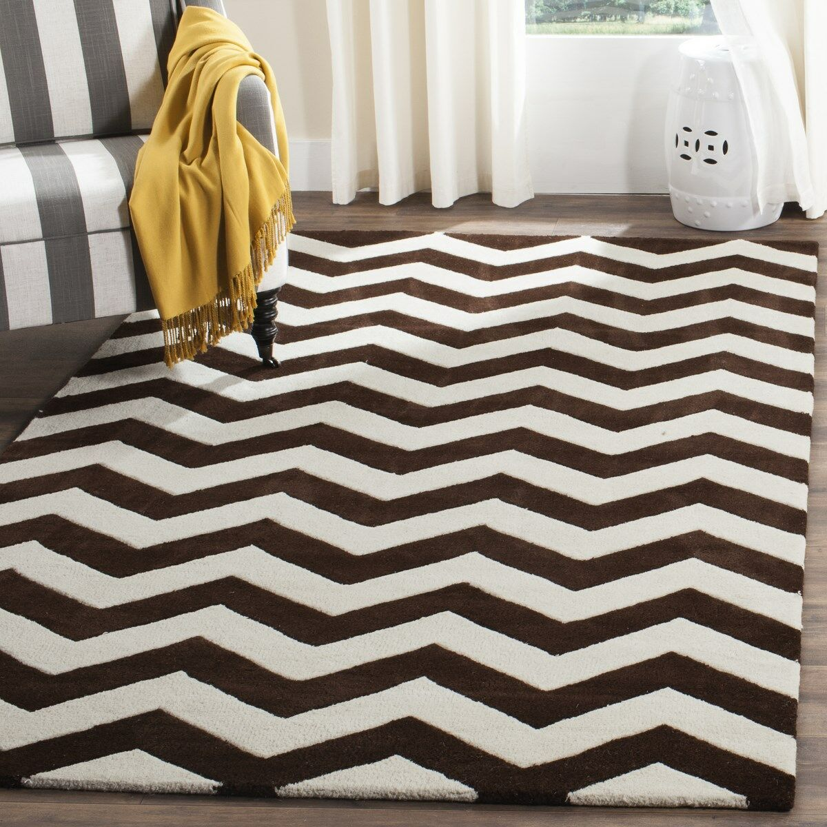 Wilkin Wool Brown/Ivory Area Rug Rug Size: Rectangle 4' x 6'