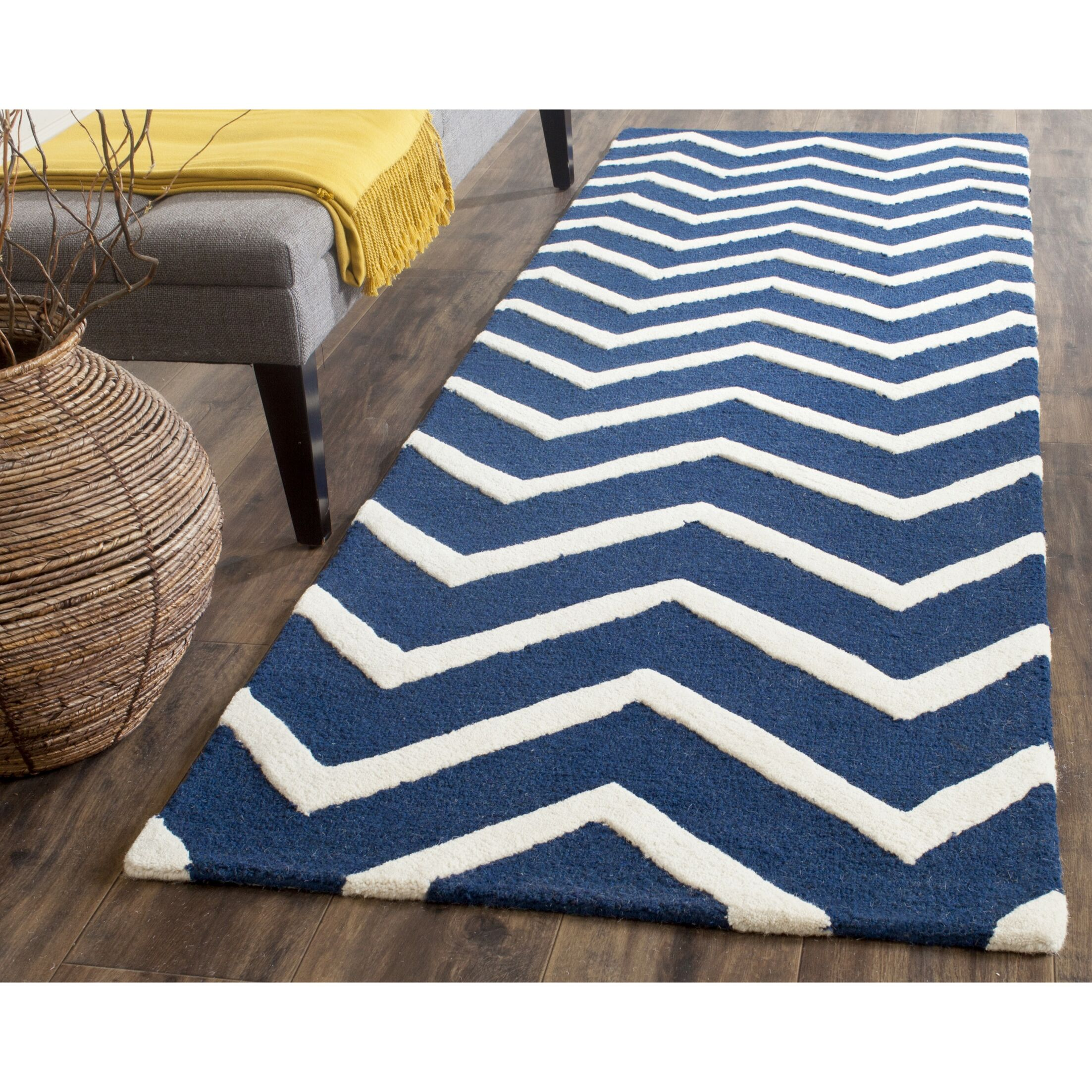 Charlenne Hand-Tufted Wool Blue/Ivory Area Rug Rug Size: Runner 2'6