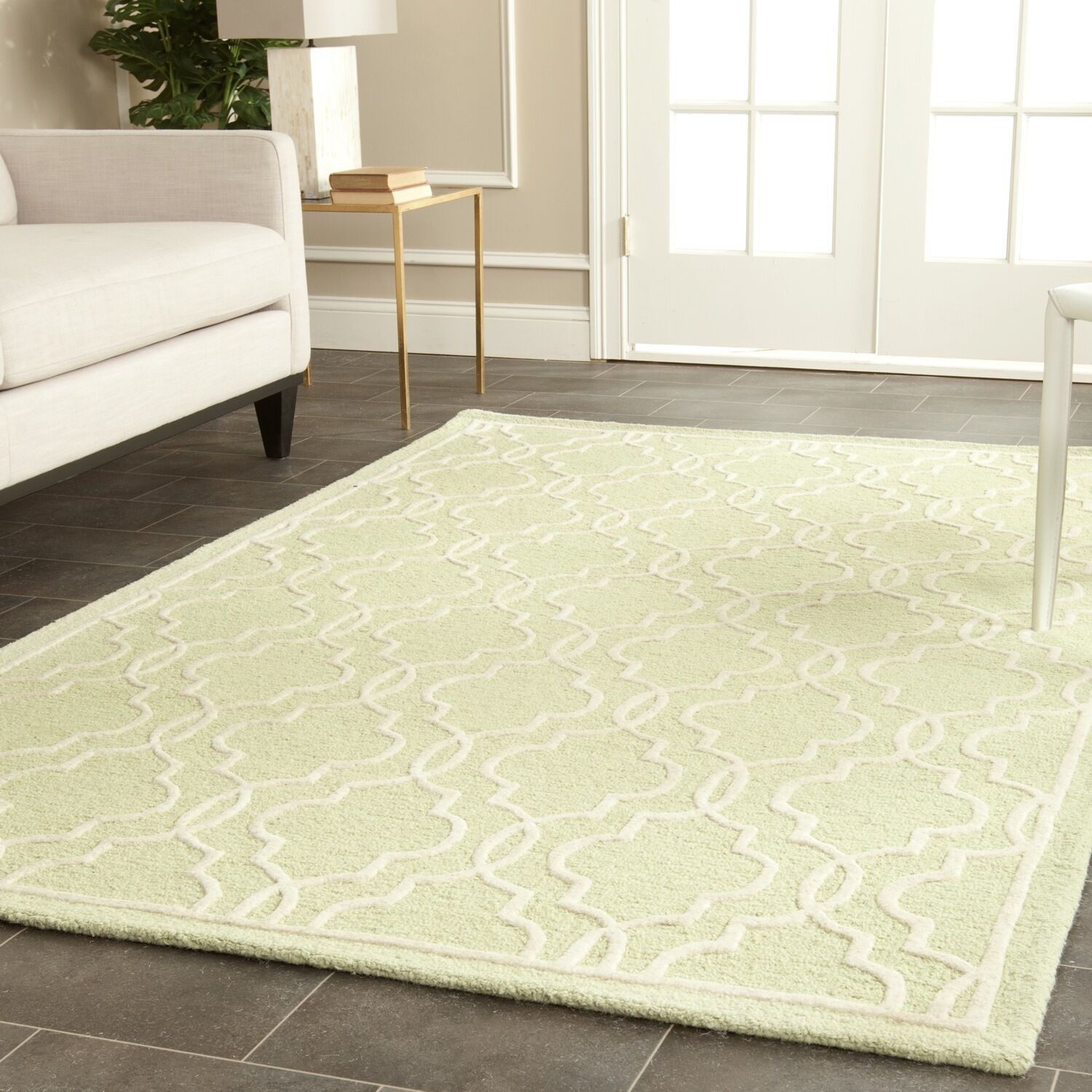 Martins Hand-Tufted Wool Light Green/Ivory Area Rug Rug Size: Rectangle 6' x 9'