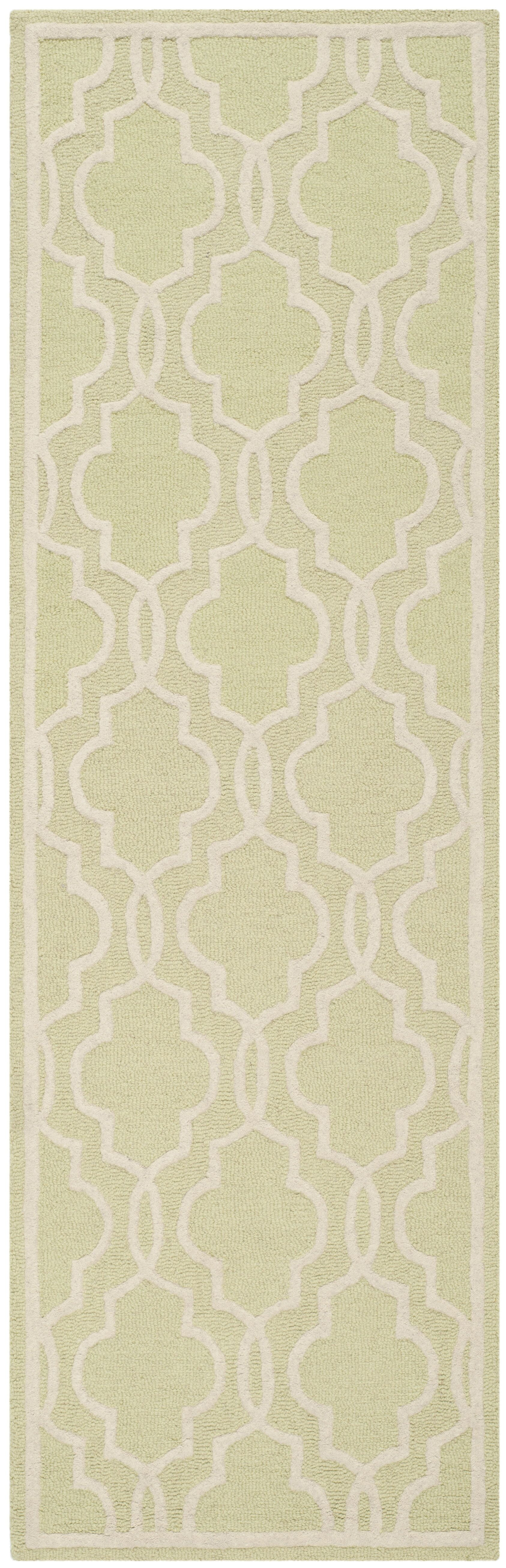 Martins Hand-Tufted Wool Light Green/Ivory Area Rug Rug Size: Runner 2'6