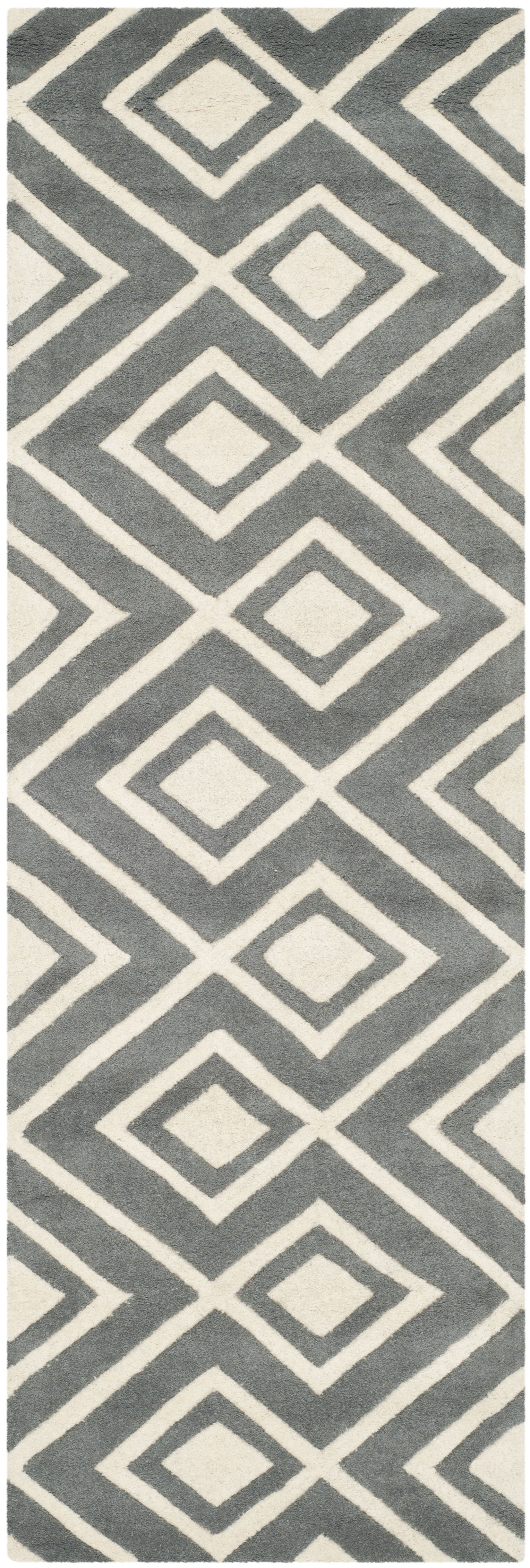 Wilkin Hand-Tufted Wool Dark Gray/Ivory Area Rug Rug Size: Runner 2'3