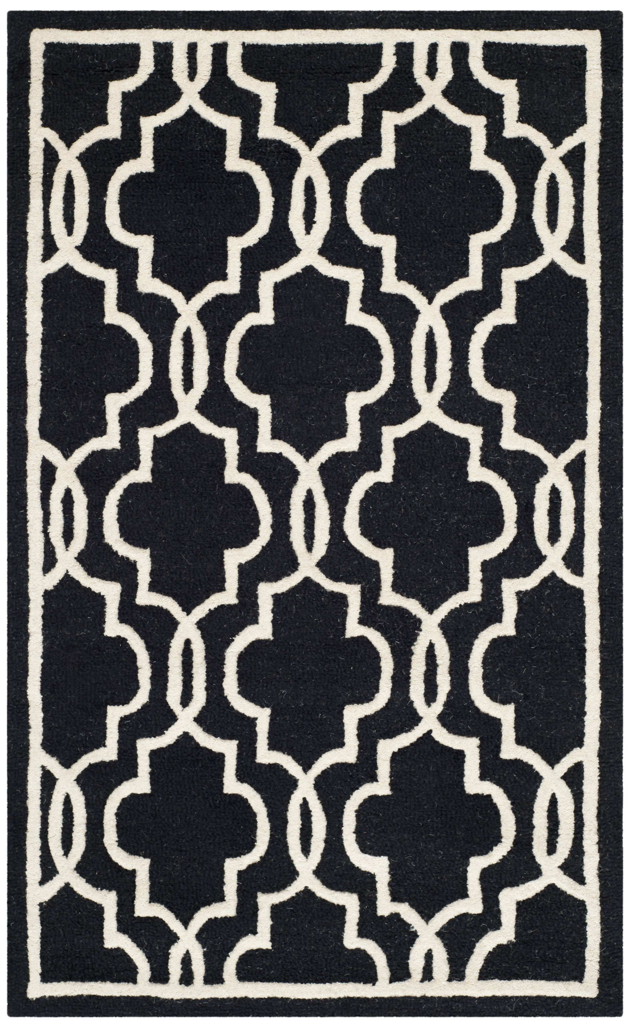 Martins Hand-Tufted Wool Black Area Rug Rug Size: Rectangle 4' x 6'