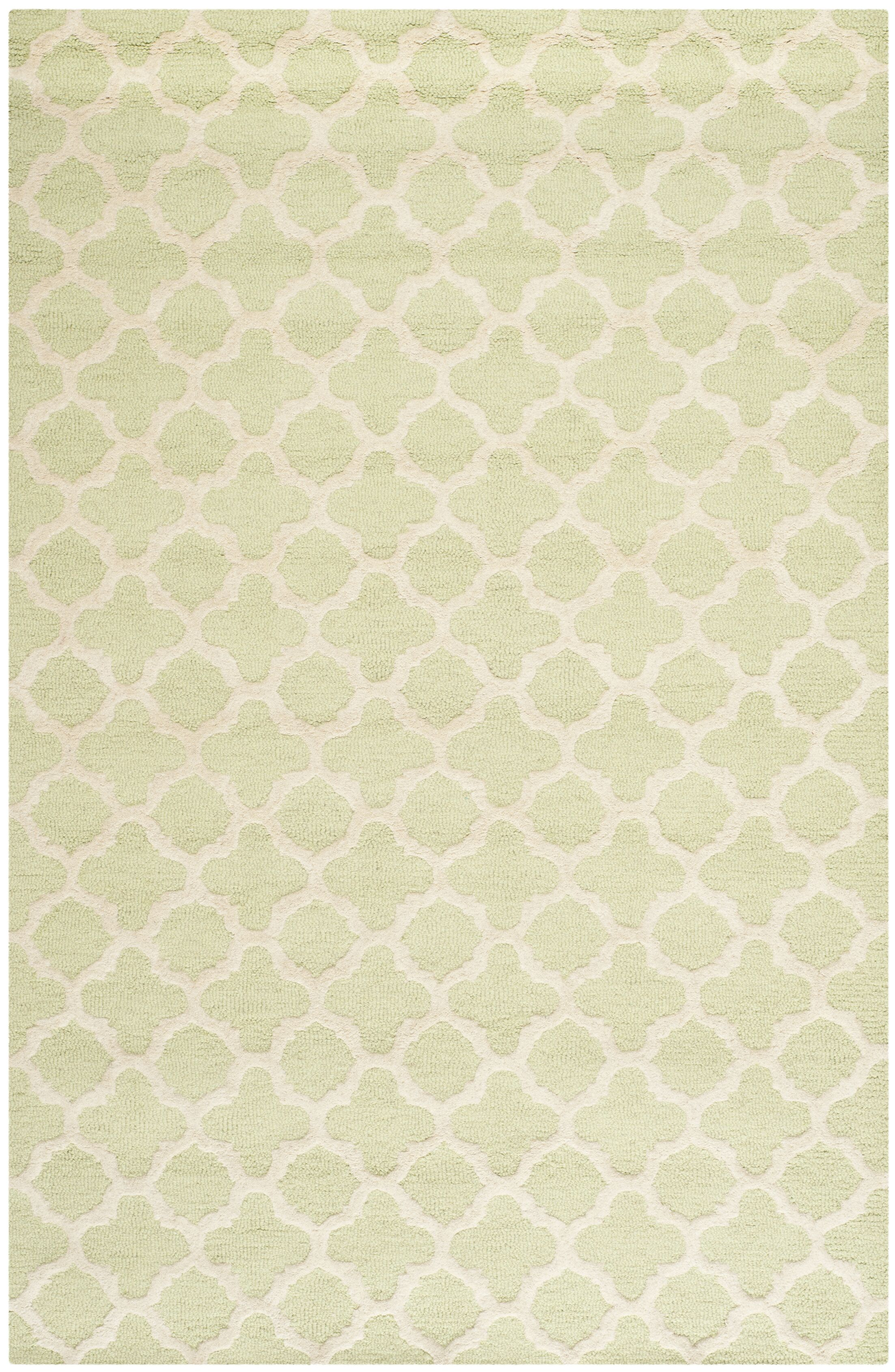 Martins Hand-Tufted Wool Light Green/Ivory Area Rug Rug Size: Rectangle 9' x 12'