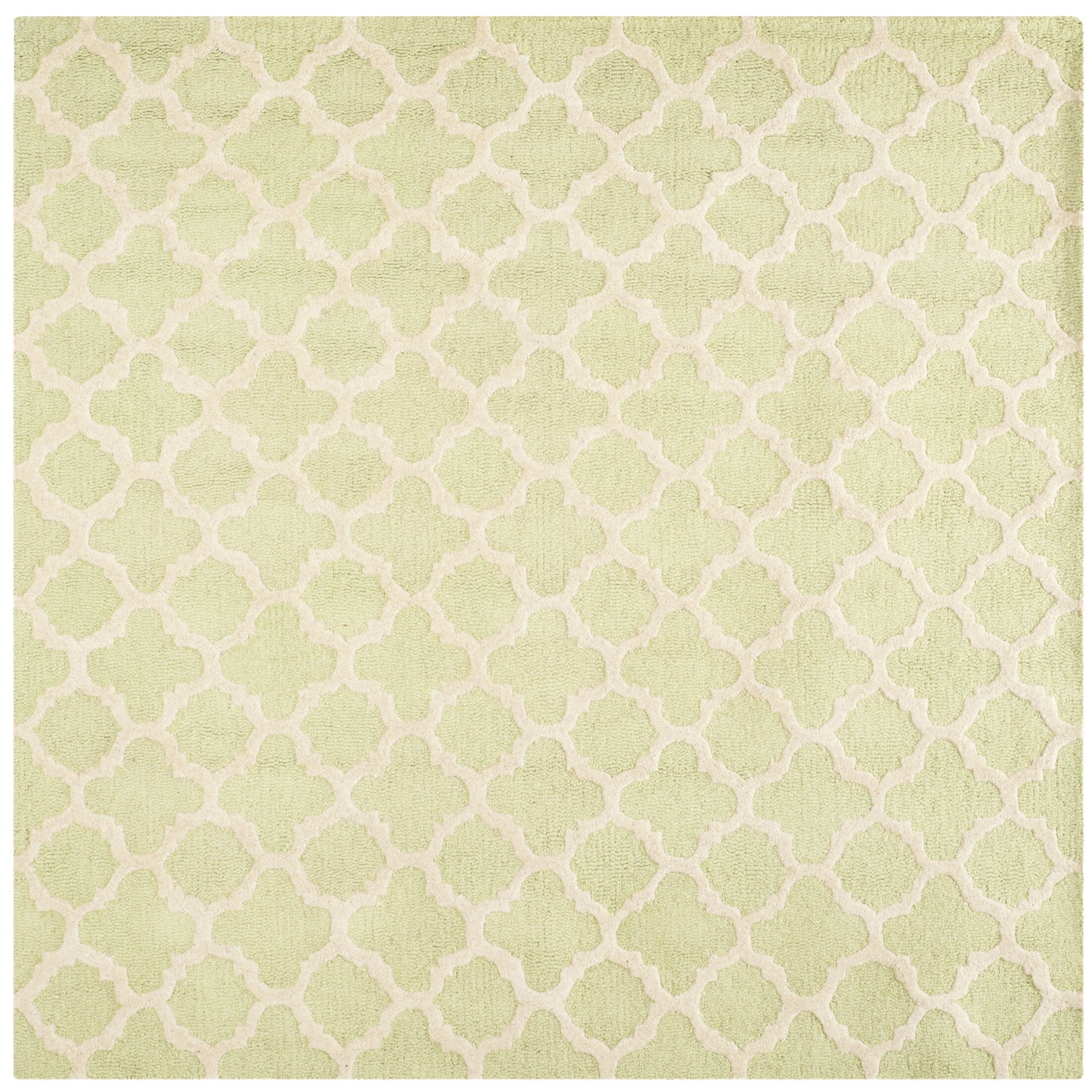 Martins Hand-Tufted Wool Light Green/Ivory Area Rug Rug Size: Square 8'