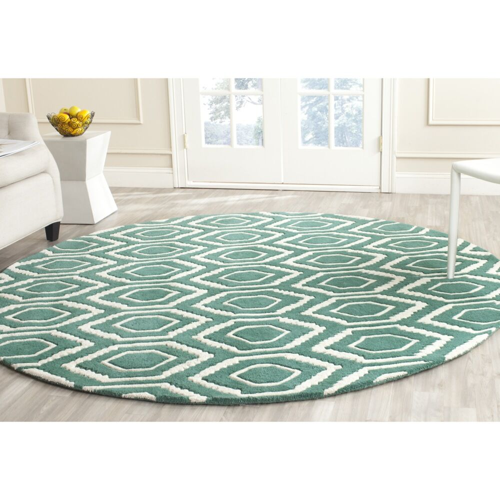Wilkin Hand-Tufted Wool Teal/Ivory Area Rug Rug Size: Round 7'