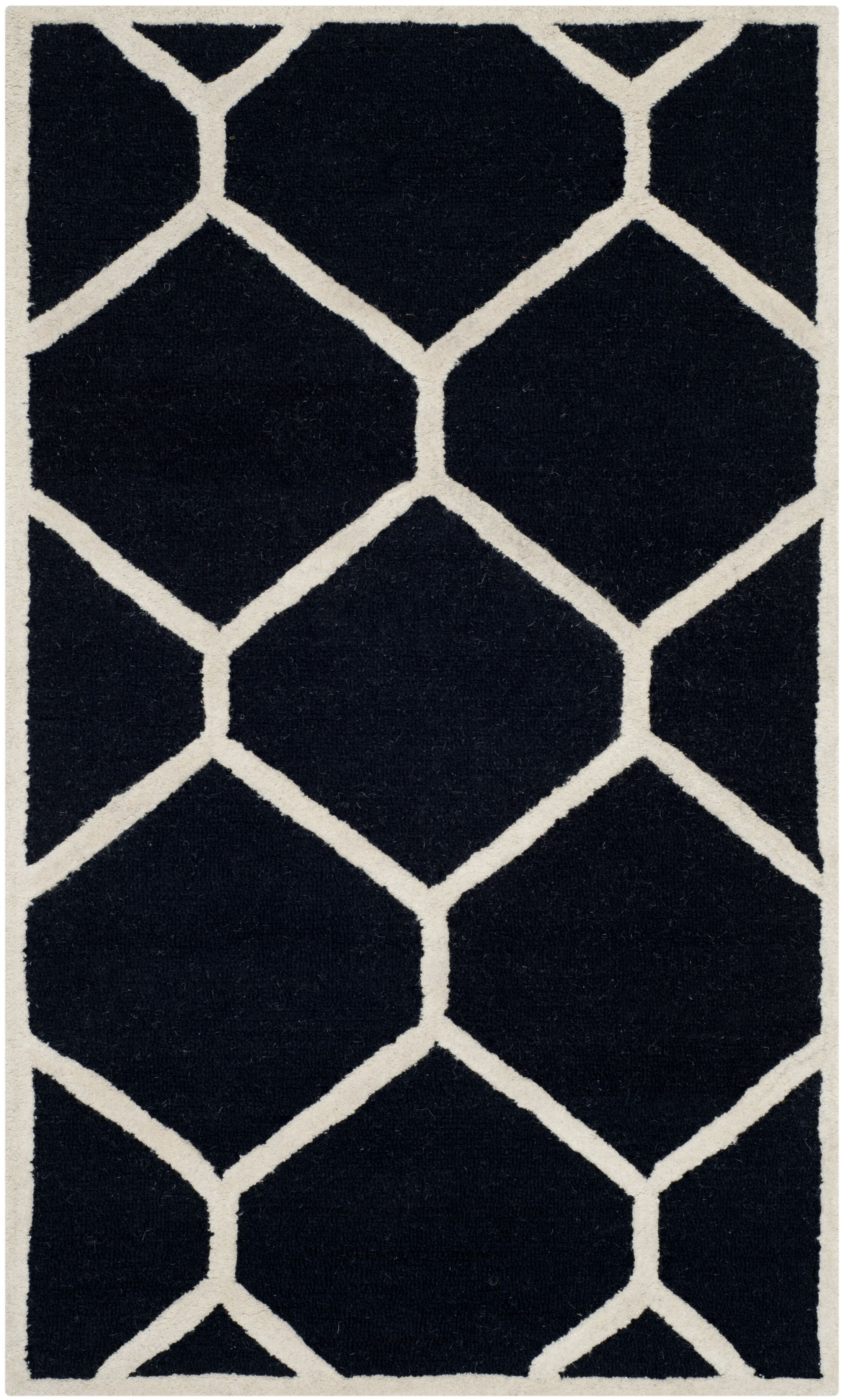 Martins Hand-Tufted Wool Black/Ivory Area Rug Rug Size: Rectangle 3' x 5'