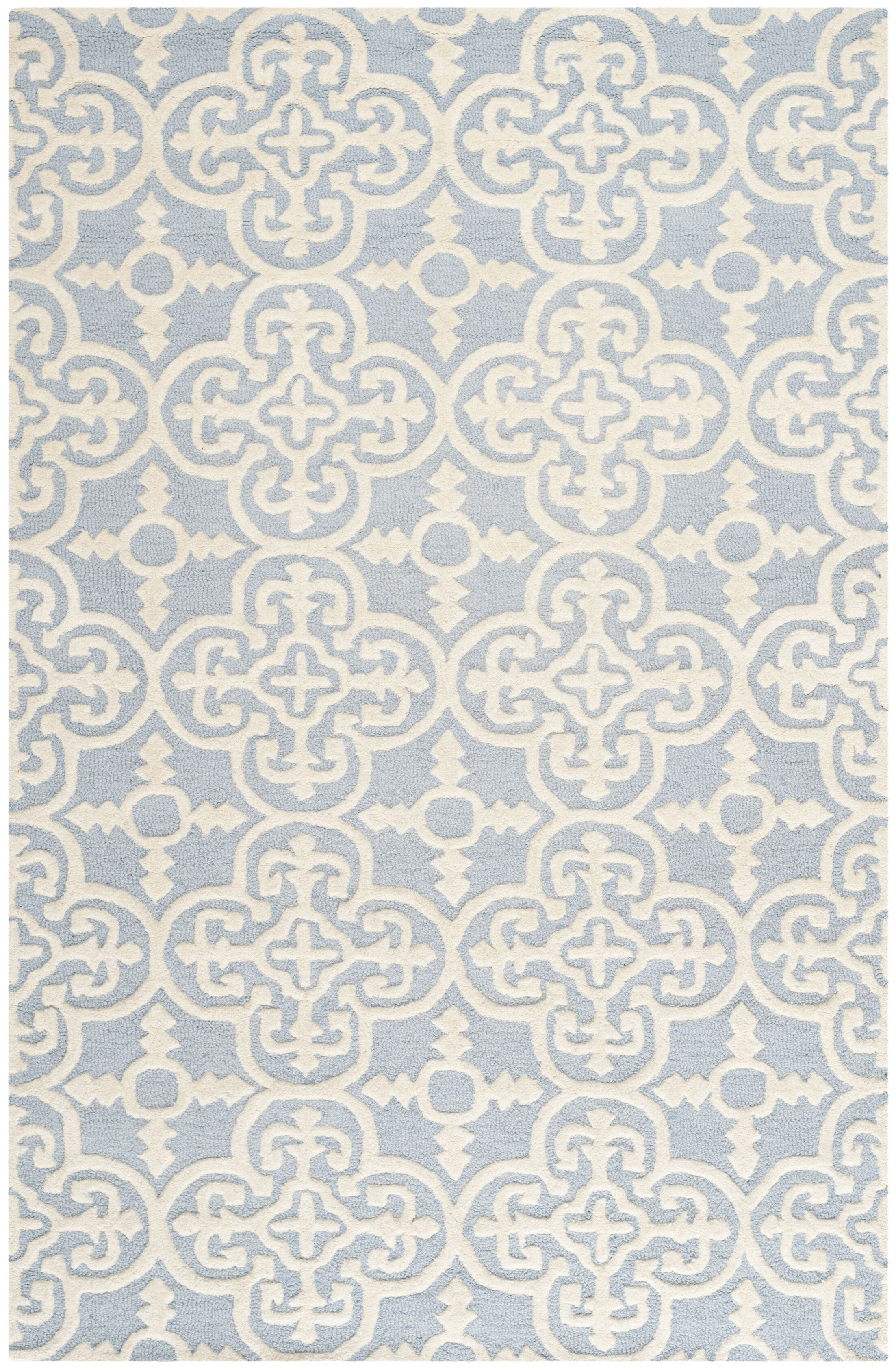 Marlen Light Blue & Ivory Area Rug Rug Size: Rectangle 11' x 15'