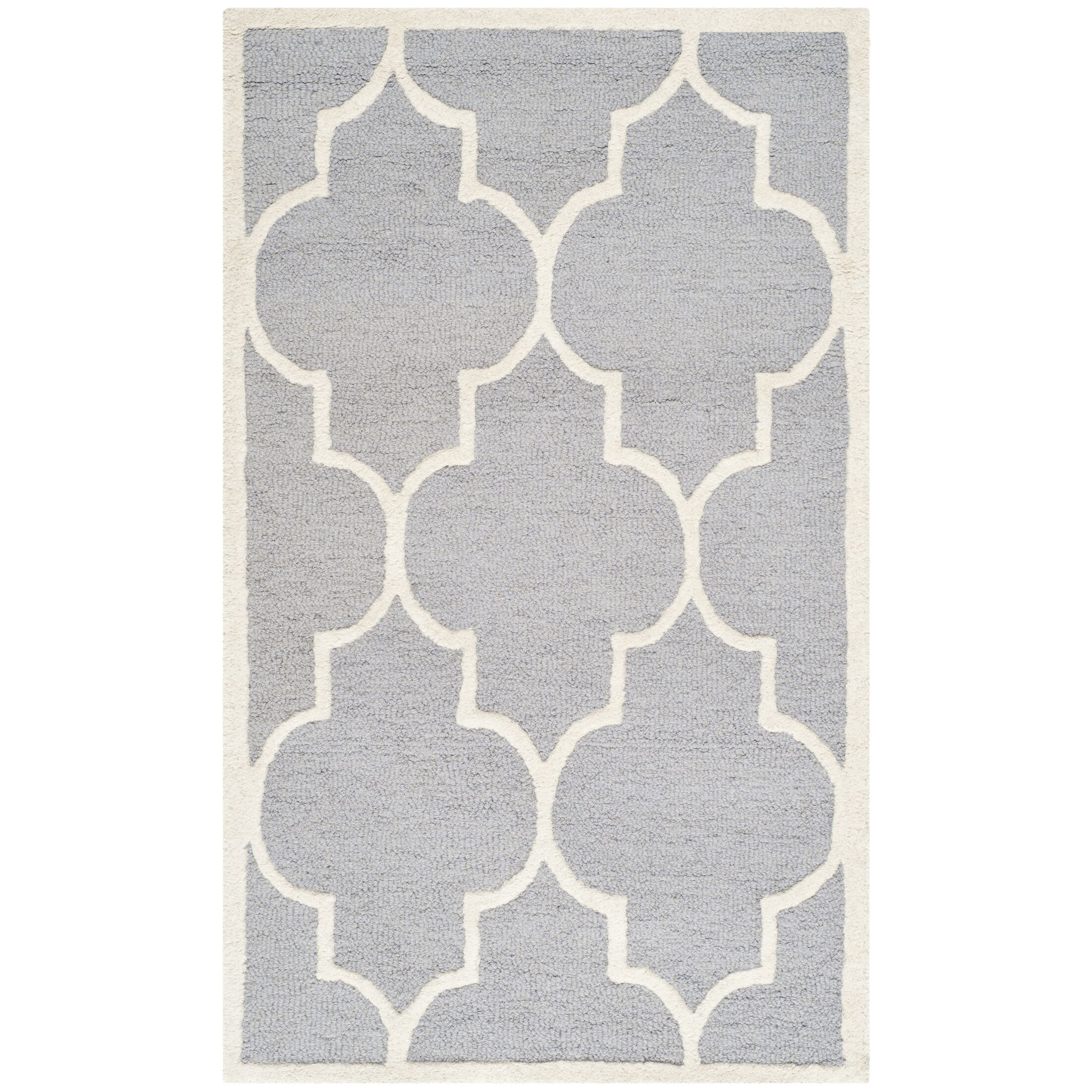 Martins Hand-Tufted Wool Gray/Ivory Area Rug Rug Size: Rectangle 11' x 15'