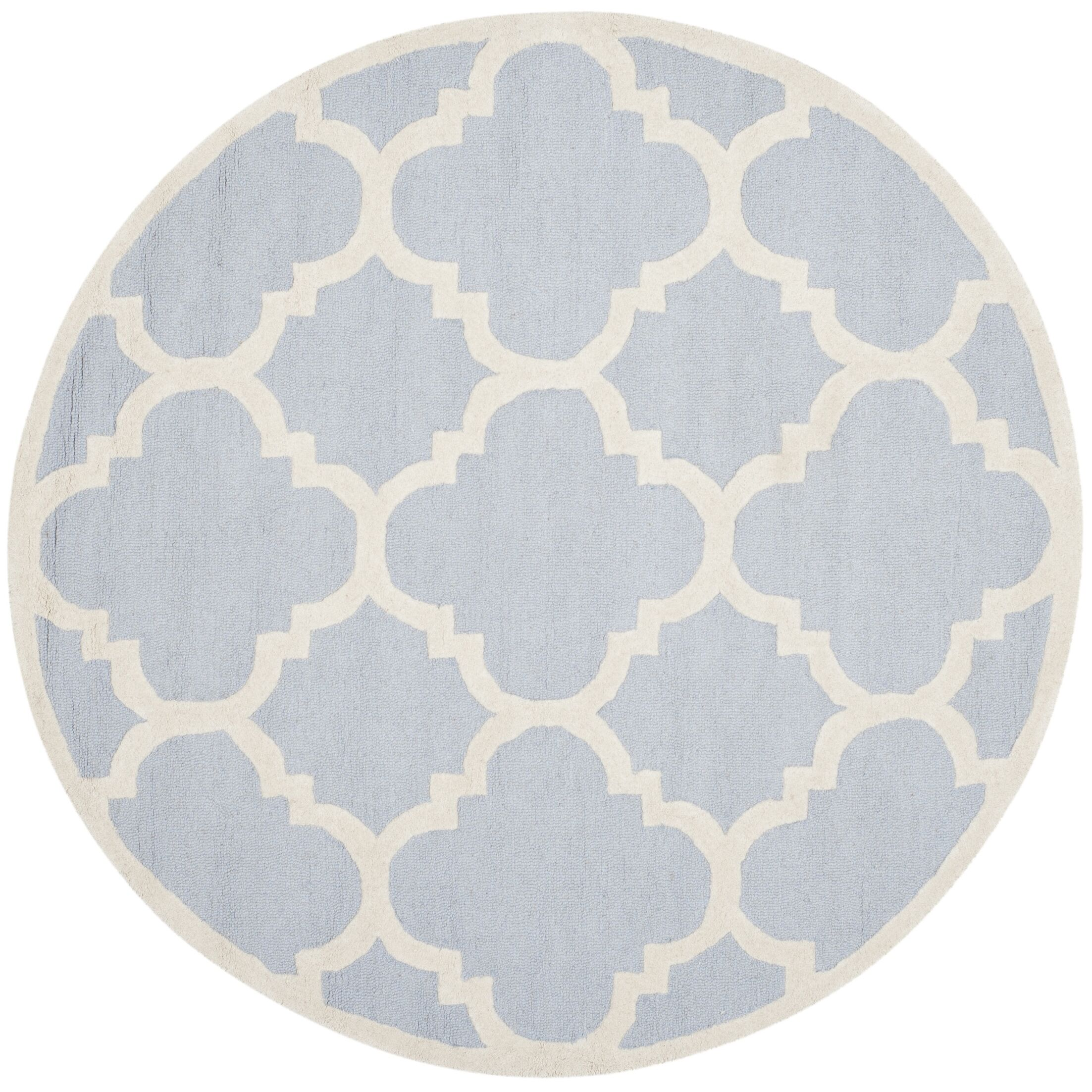 Charlenne Hand-Tufted Light Blue/Ivory Area Rug Rug Size: Round 6'