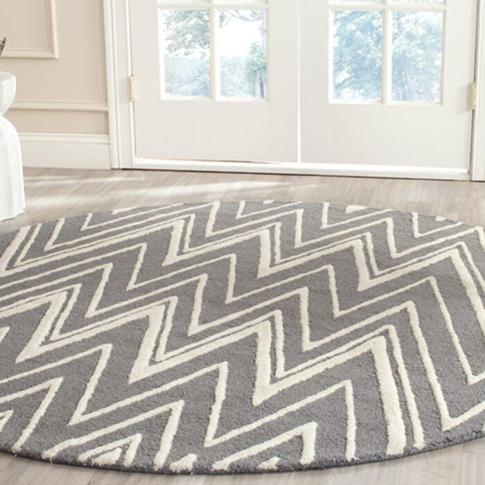 Martins Hand-Tufted Wool Gray Area Rug Rug Size: Round 4'